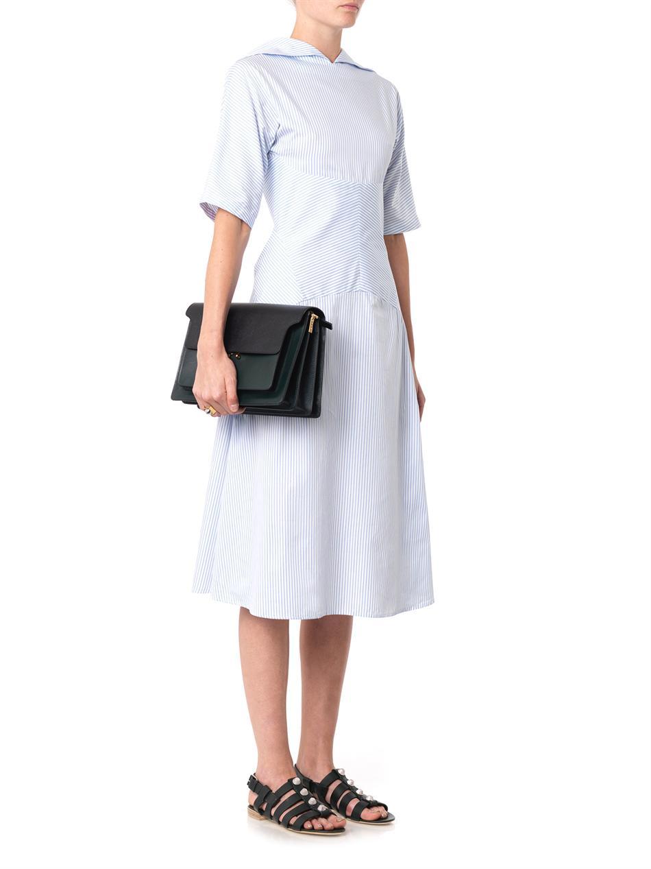 Lyst J W Anderson Striped Cotton Dress In Blue