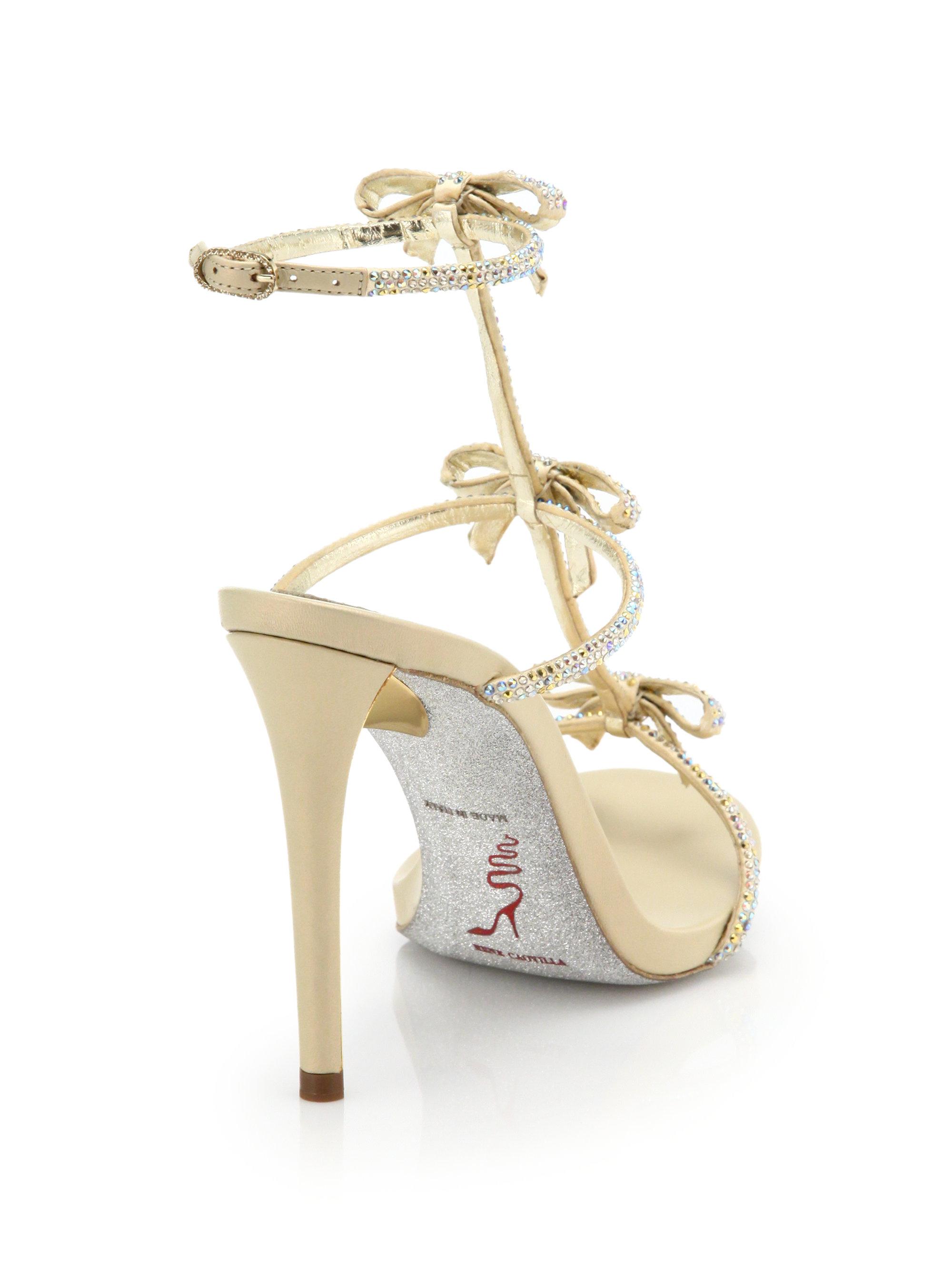 f1b40e750 Lyst - Rene Caovilla Strass Swarovski Crystal Bow Sandals in Metallic