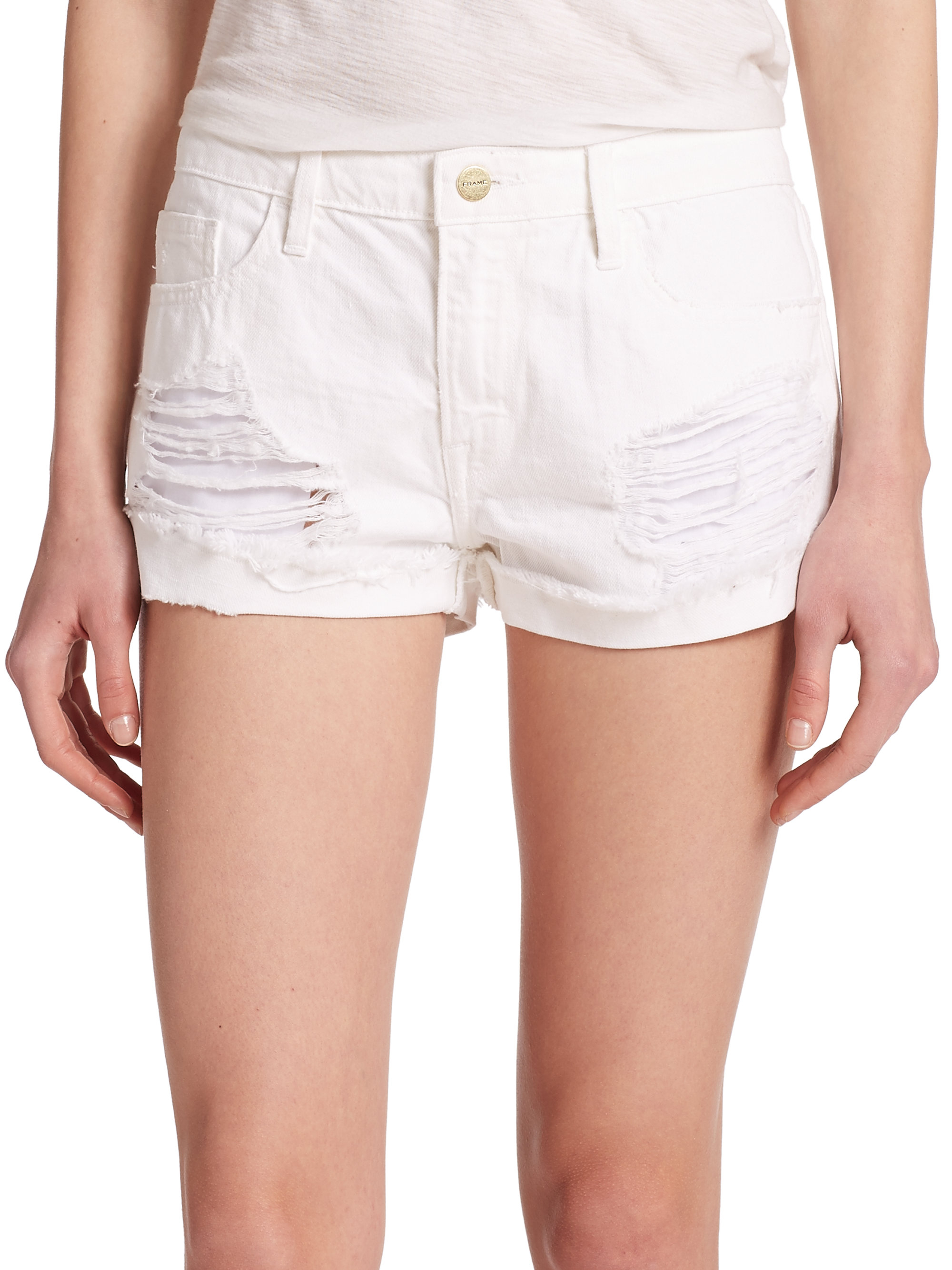 Lyst - Frame Le Grand Garcon Distressed Shorts in White