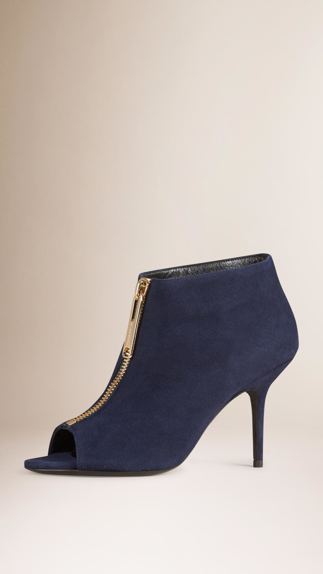 burberry peep toe suede ankle boots in blue navy lyst