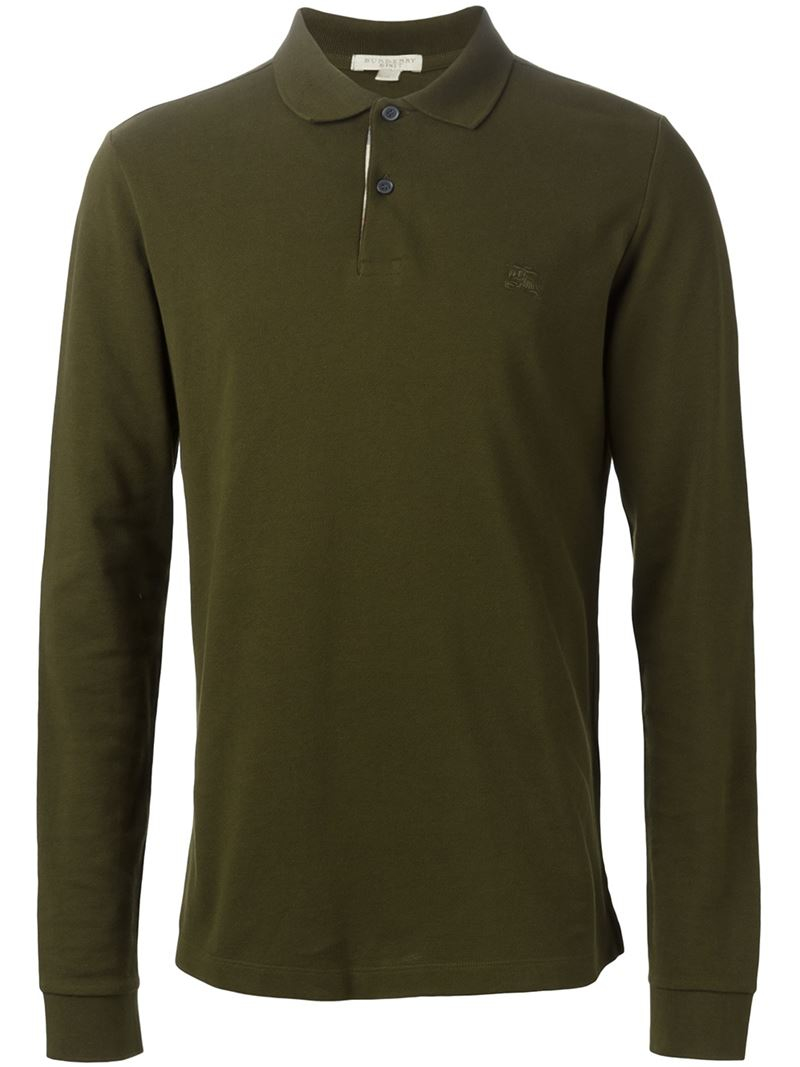 Burberry Brit Long Sleeve Polo Shirt In Green For Men Lyst