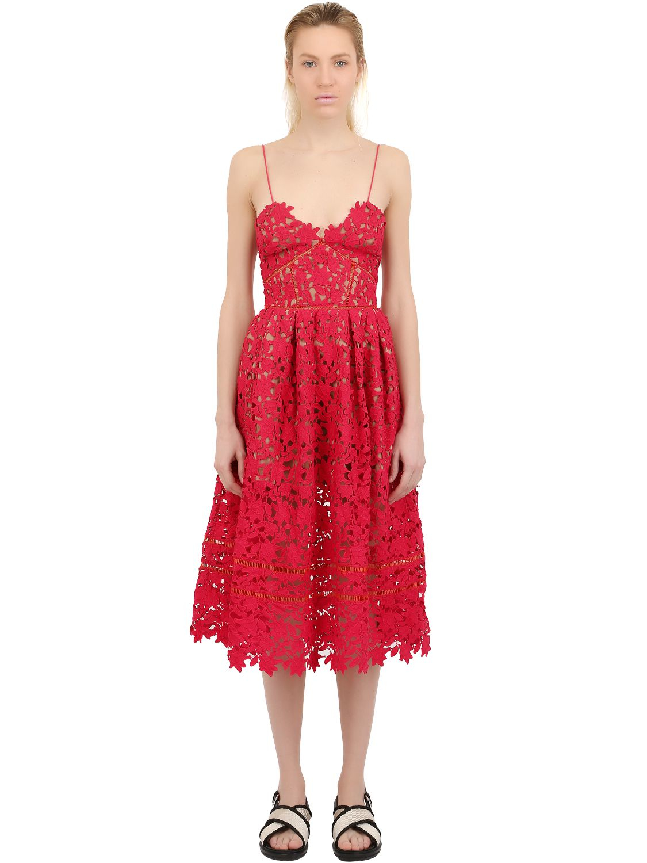 75e7830735af0 Lyst - Self-Portrait Azaelea Lace Dress in Red