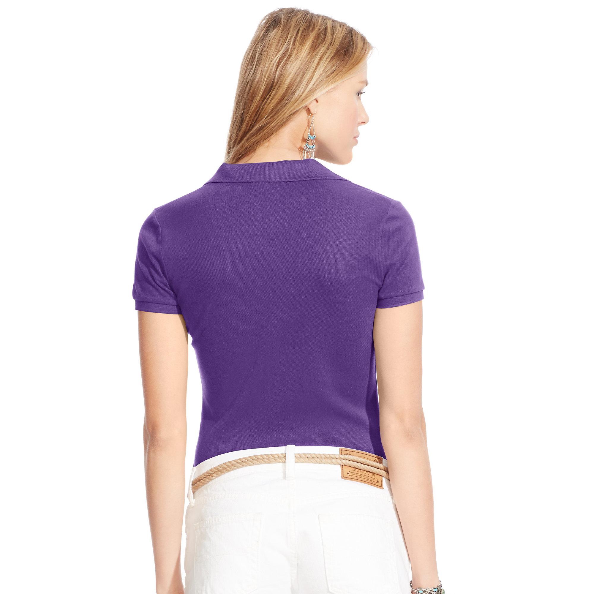 e97e35c0122 Lyst - Polo Ralph Lauren Skinny Stretch Polo Shirt in Purple