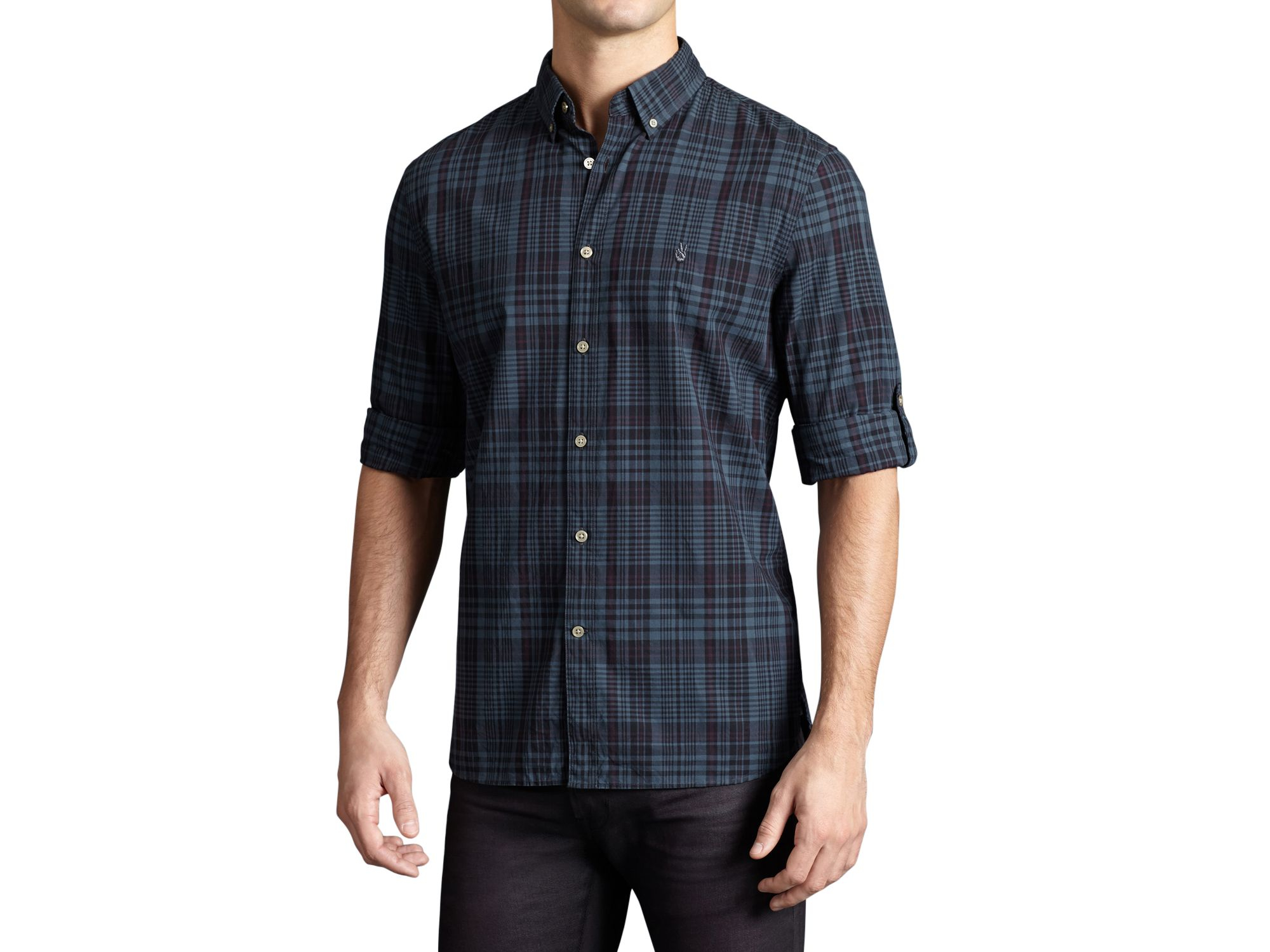 Lyst john varvatos usa plaid slim fit button down shirt for Custom pattern button down shirts