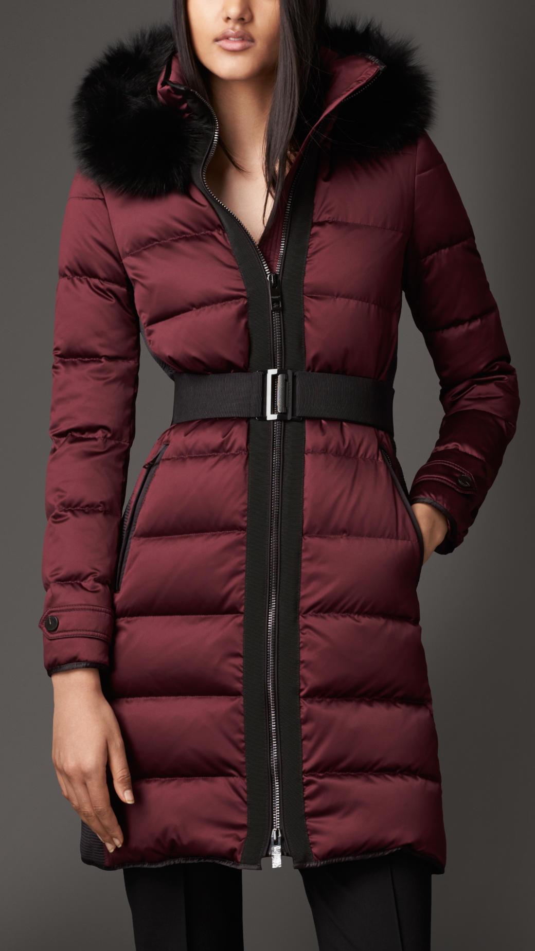 Burberry Fur Trim Puffer Coat In Red Lyst