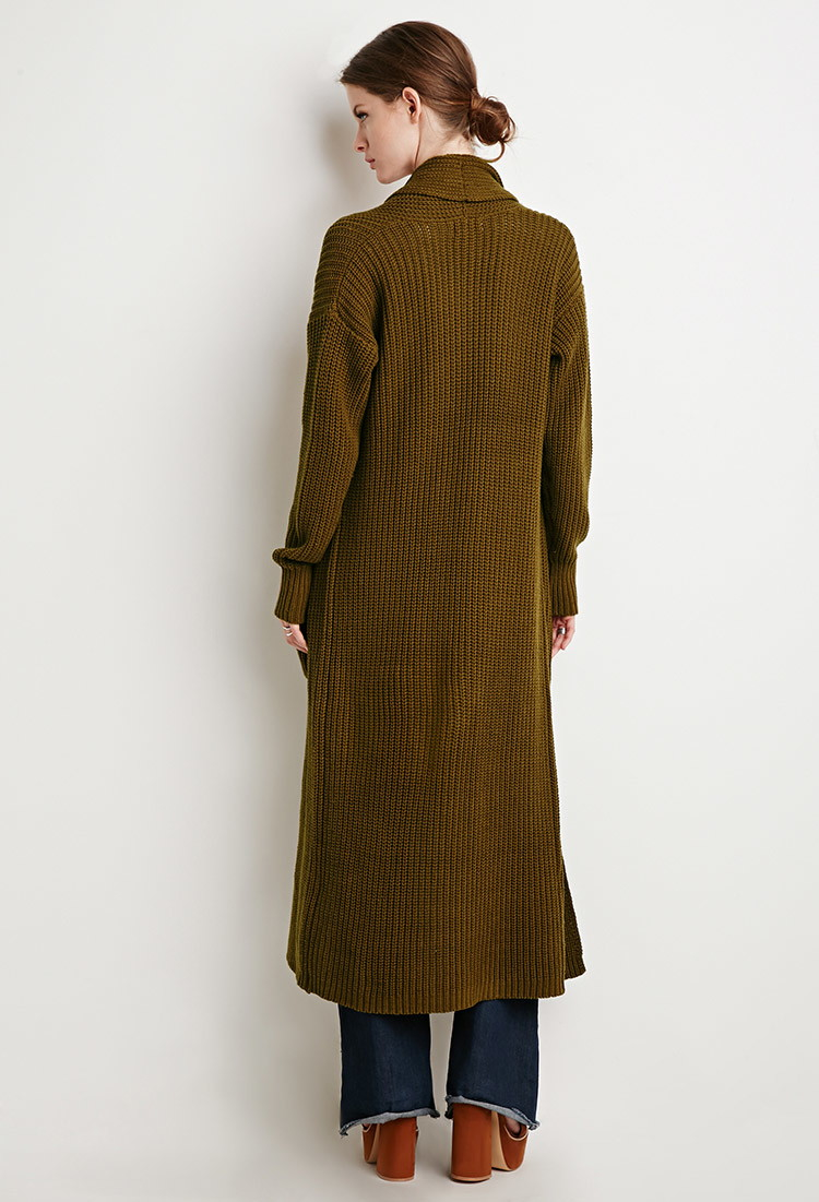 Forever 21 Contemporary Maxi Cardigan in Brown | Lyst
