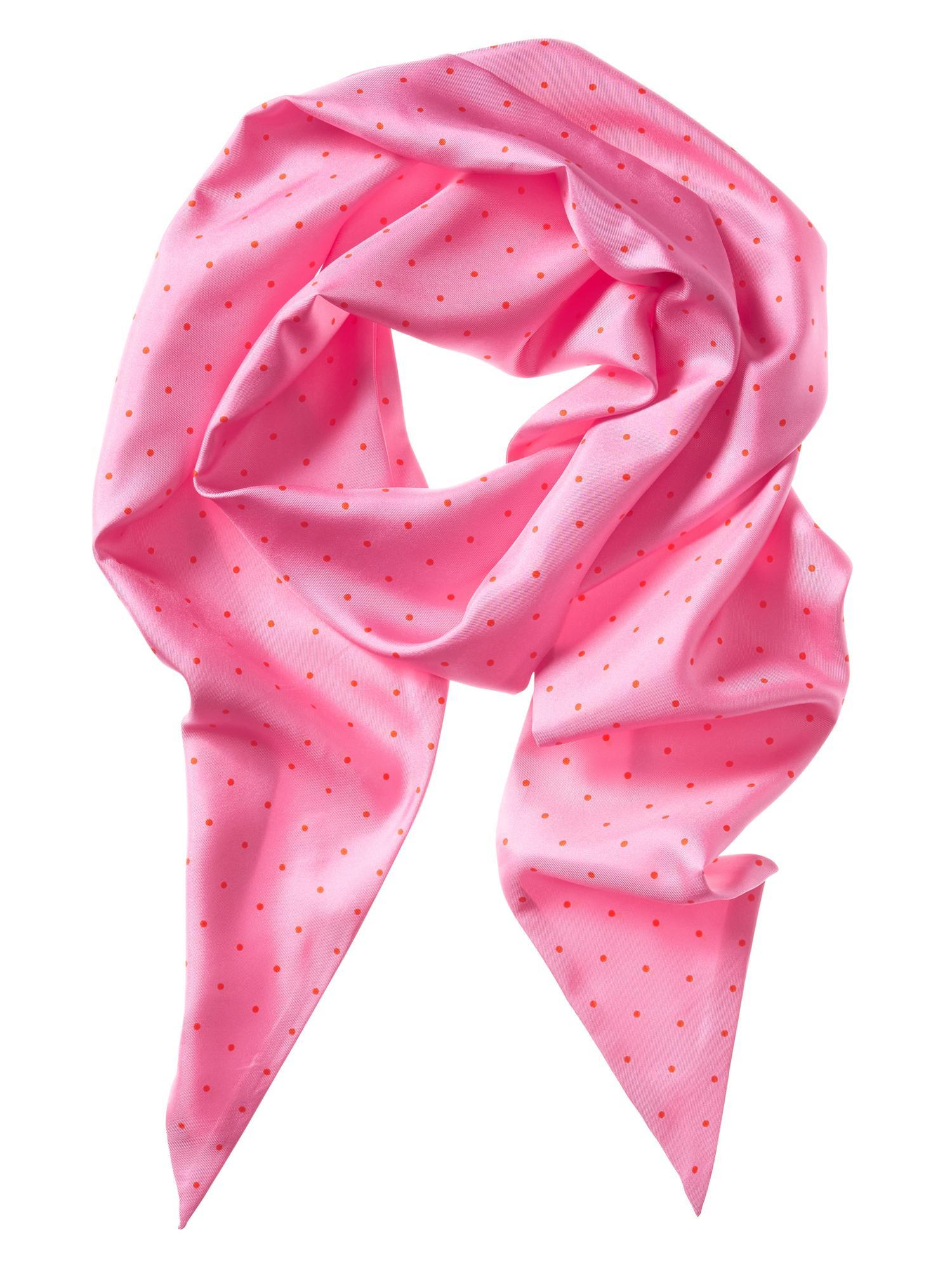 banana republic pin dot silk scarf in pink pop pink lyst