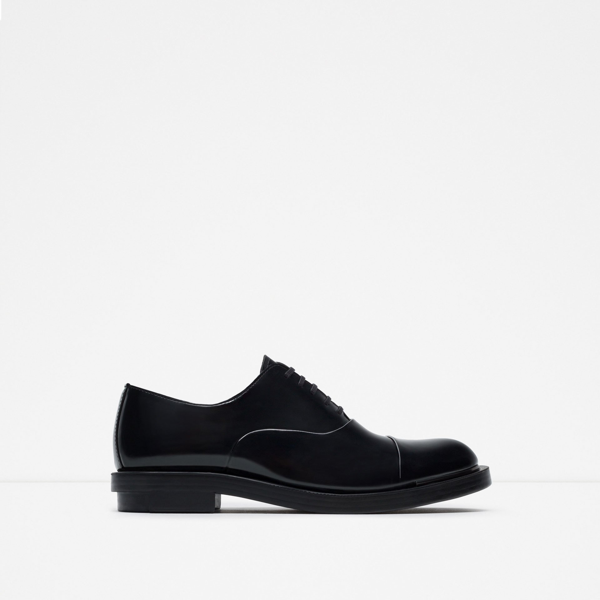 zara metallic detail leather oxford shoes in black for
