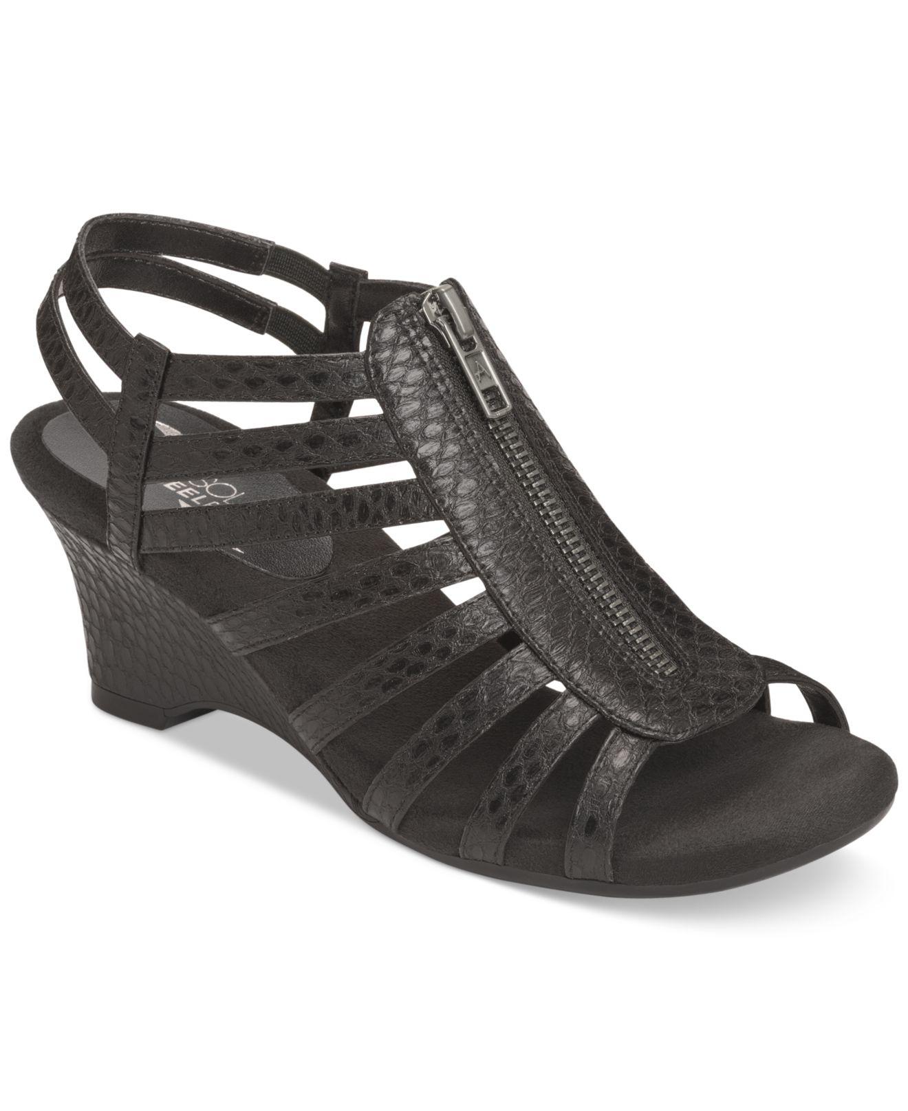 Lyst Aerosoles Half Dozen Wedge Sandals In Black