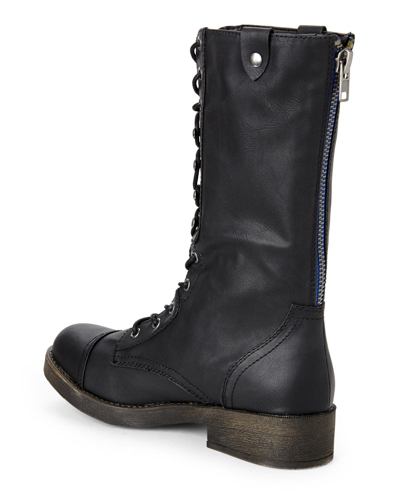 Madden girl Black Motorrr Fold-Down Combat Boots in Black | Lyst