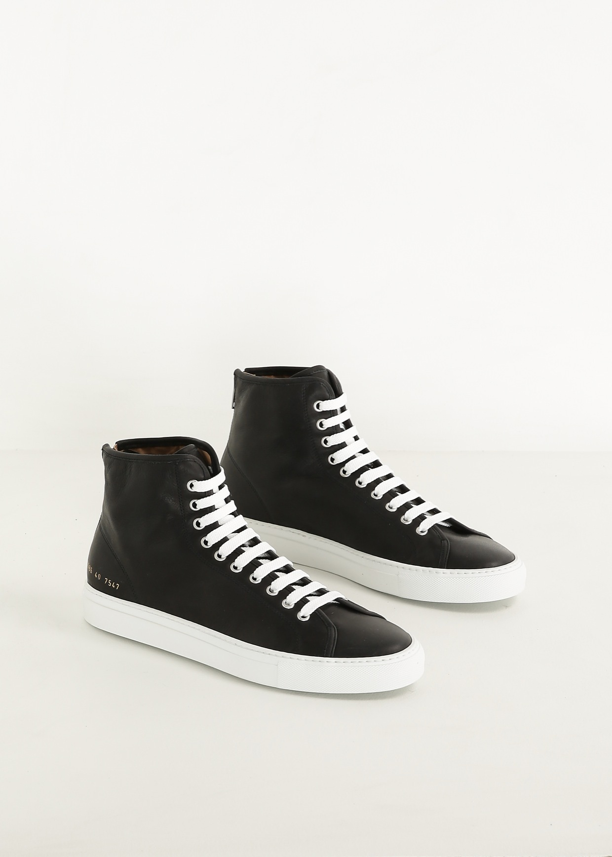common projects tournament leather high top sneakers in black lyst. Black Bedroom Furniture Sets. Home Design Ideas