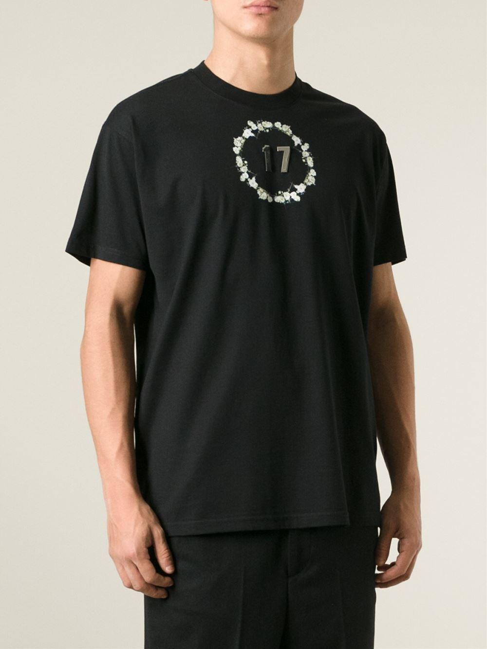 givenchy 39 39 17 39 removable metal plate floral crown t shirt in black for men lyst. Black Bedroom Furniture Sets. Home Design Ideas