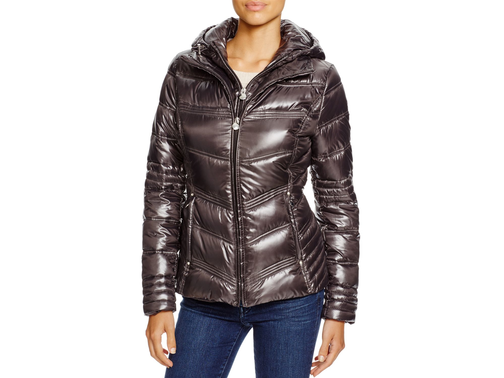 Laundry By Shelli Segal Synthetic Hooded Packable Puffer Jacket In Charcoal Gray Lyst