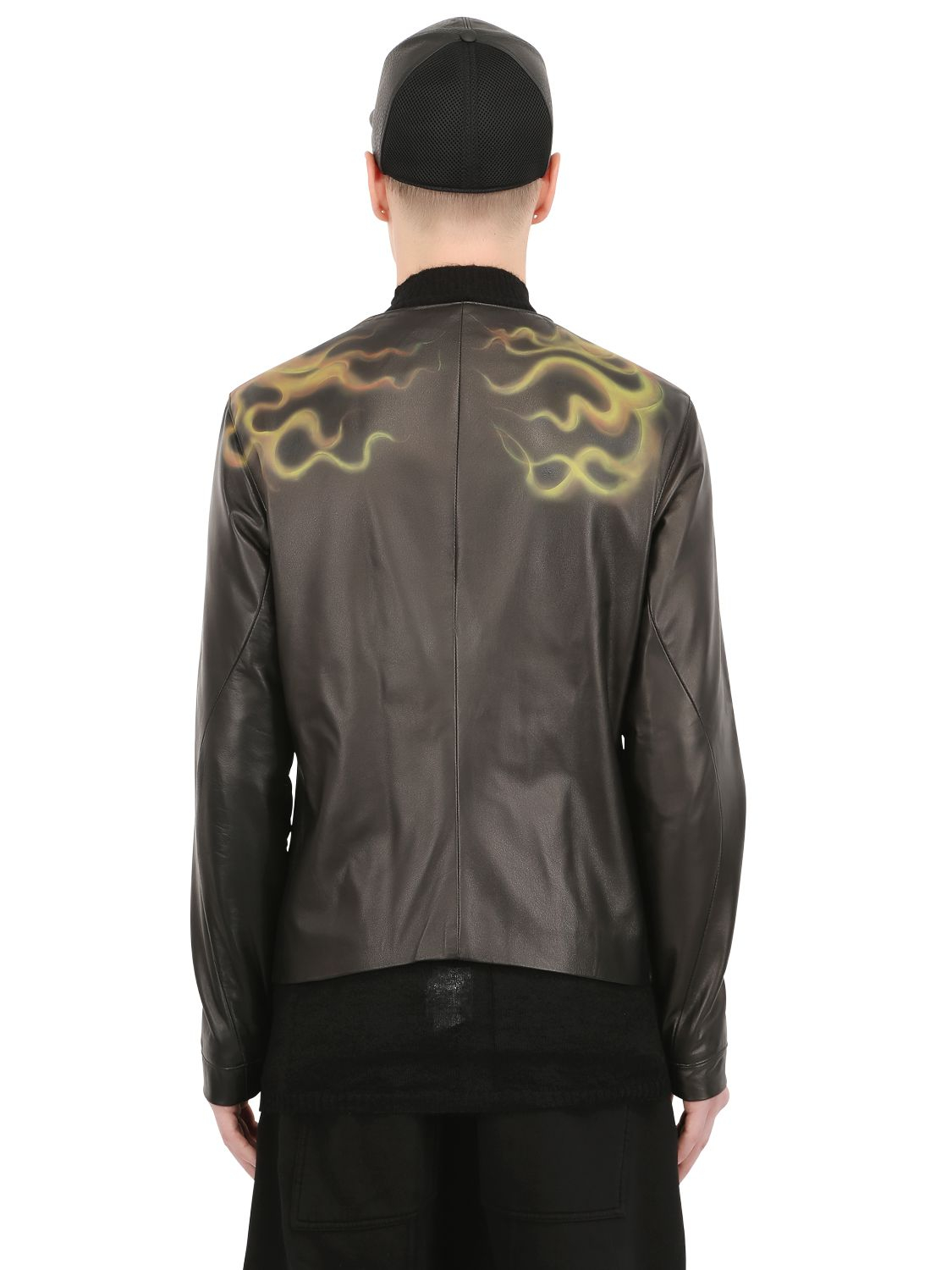 Black Dioniso Skull Painted Leather Moto Jacket in Black for Men
