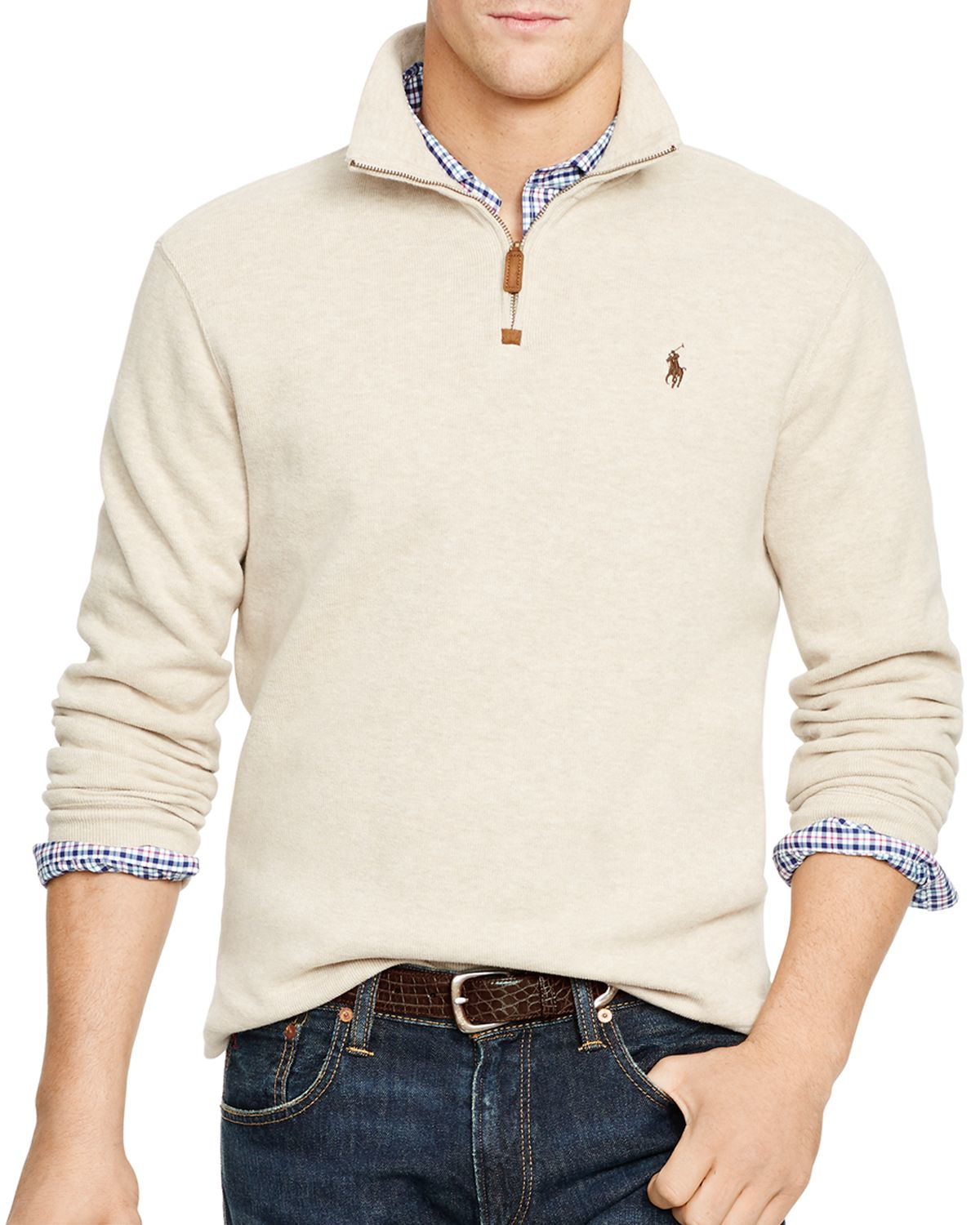 ralph lauren polo french rib half zip pullover in beige expedition. Black Bedroom Furniture Sets. Home Design Ideas