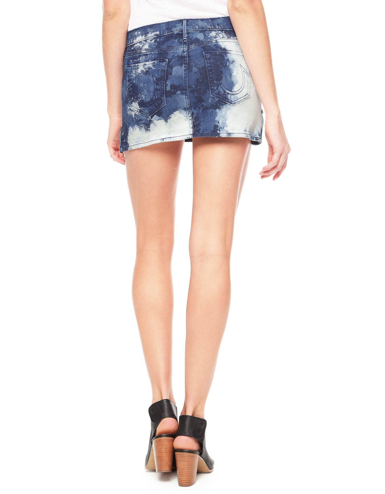 True religion Alana Side Zip Womens Mini Skirt in Blue | Lyst