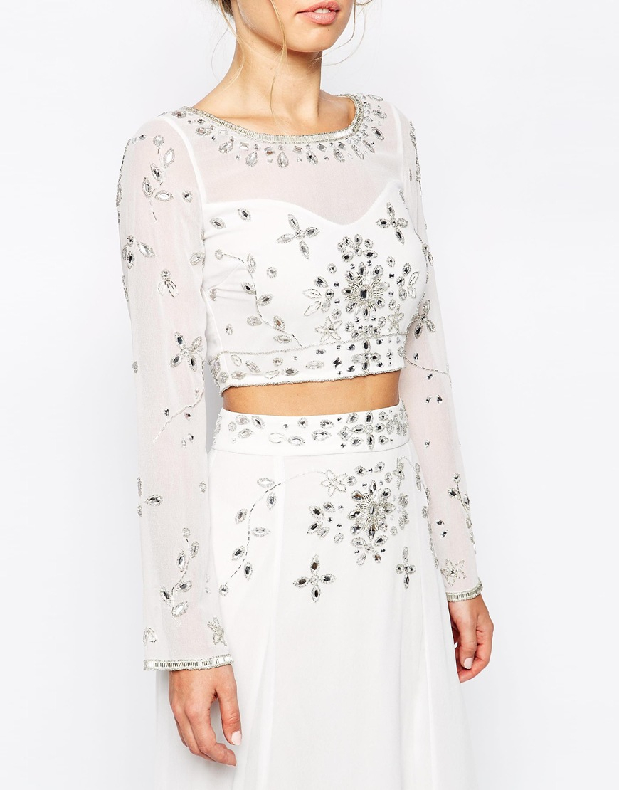 9783794555aea Lyst - Frock and Frill Embellished Long Sleeve Crop Top in White