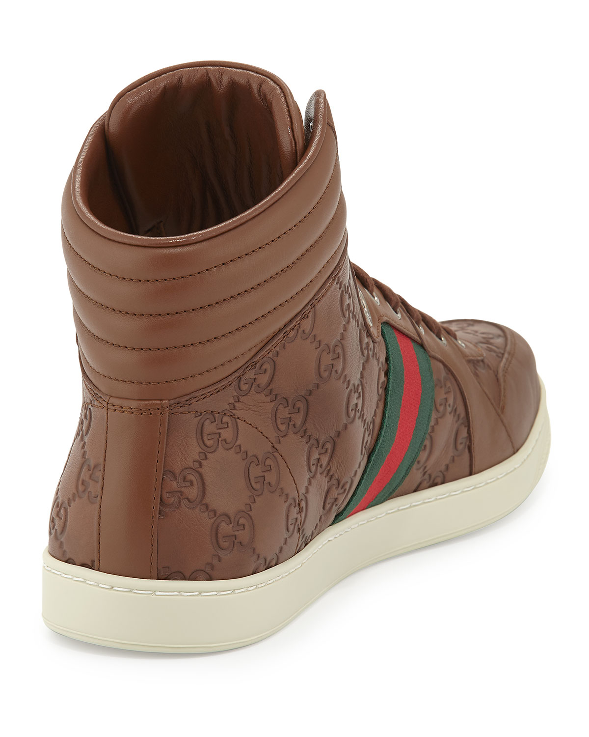 Gucci Leather High-Top Sneakers in Brown for Men