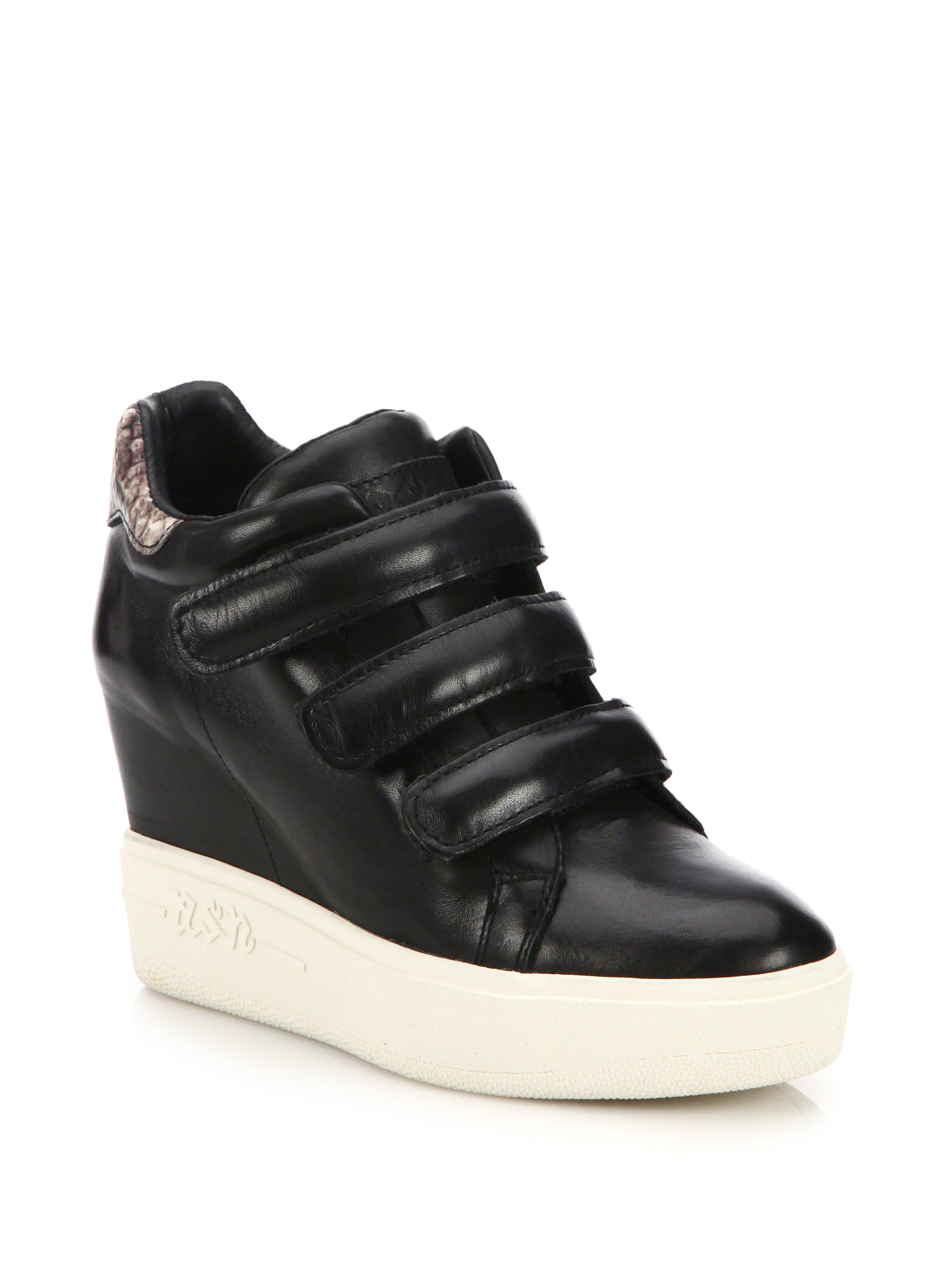 ash avedon leather high top wedge sneakers in black lyst