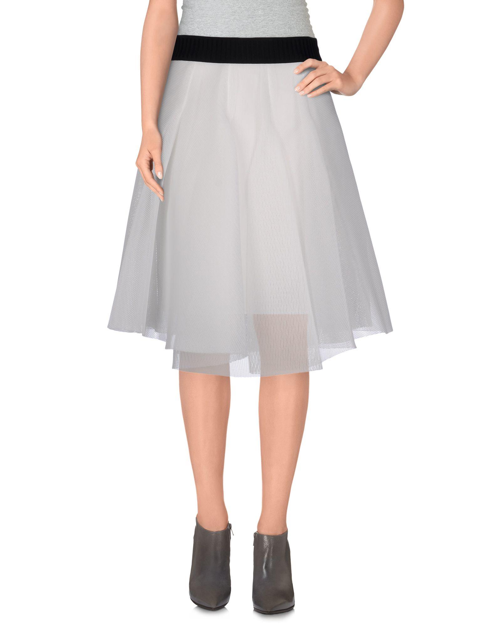 milly knee length skirt in white lyst