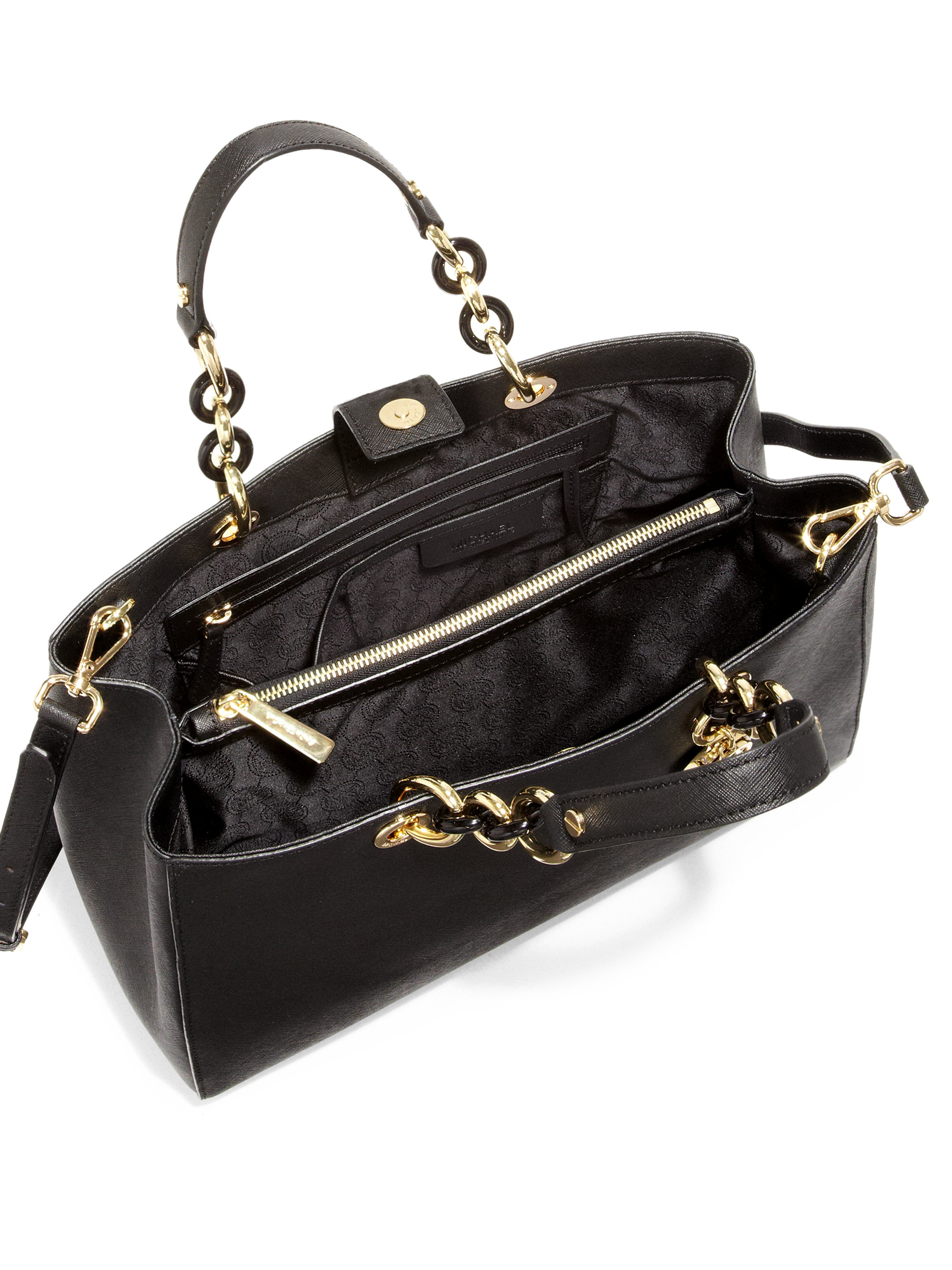 michael michael kors cynthia large satchel in black lyst. Black Bedroom Furniture Sets. Home Design Ideas