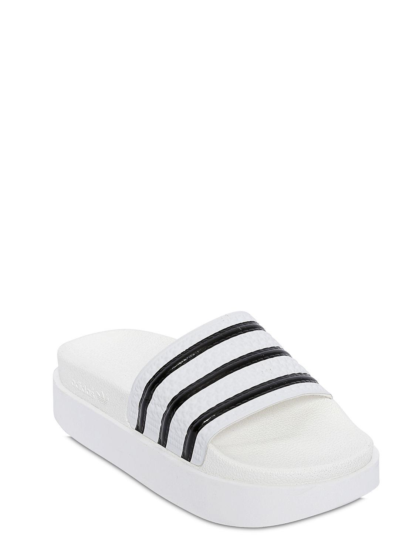 074a75e3a17 Lyst - adidas Originals Adilette Bold Rubber Slides in White