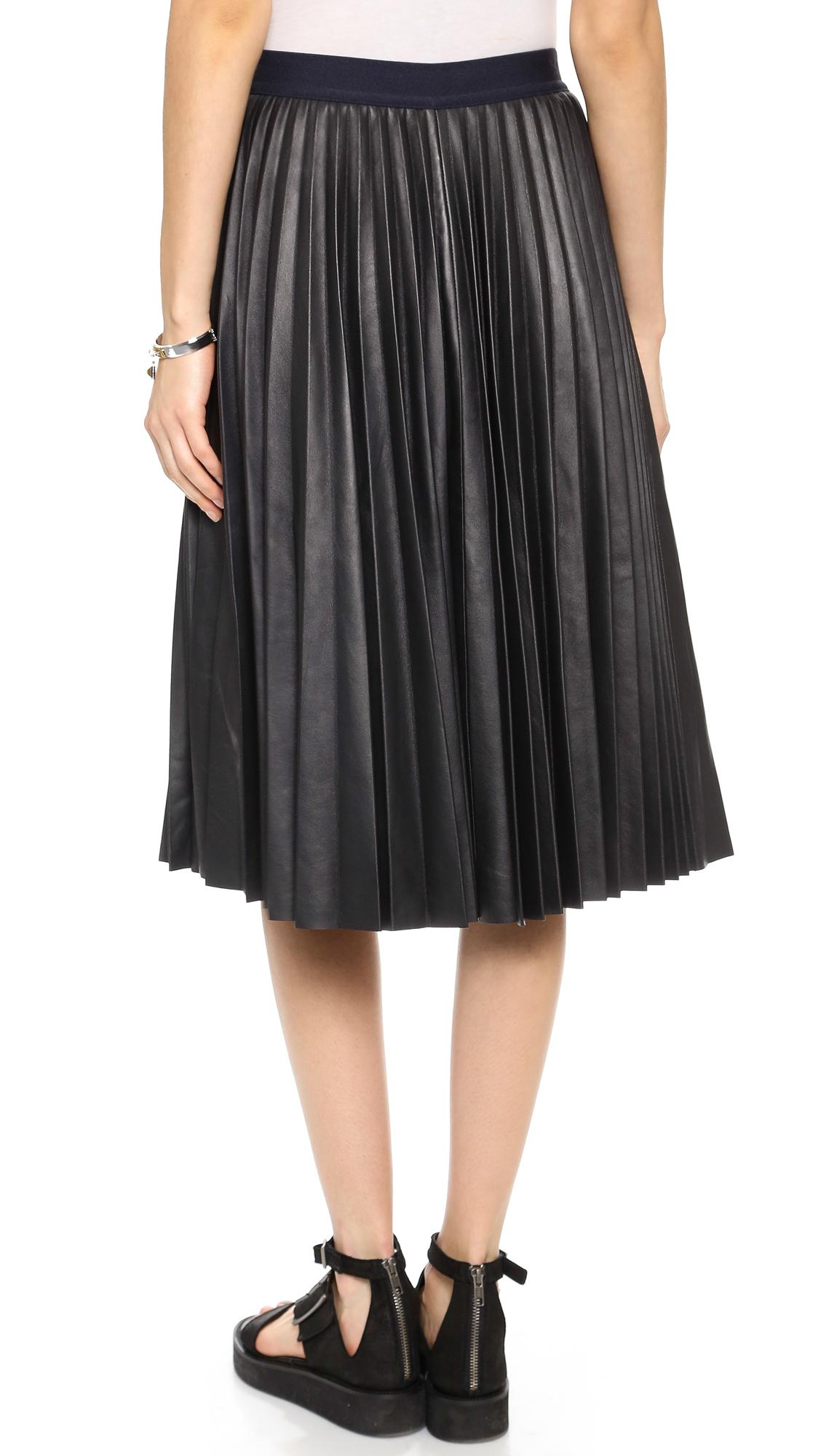 Navy Blue Leather Skirt