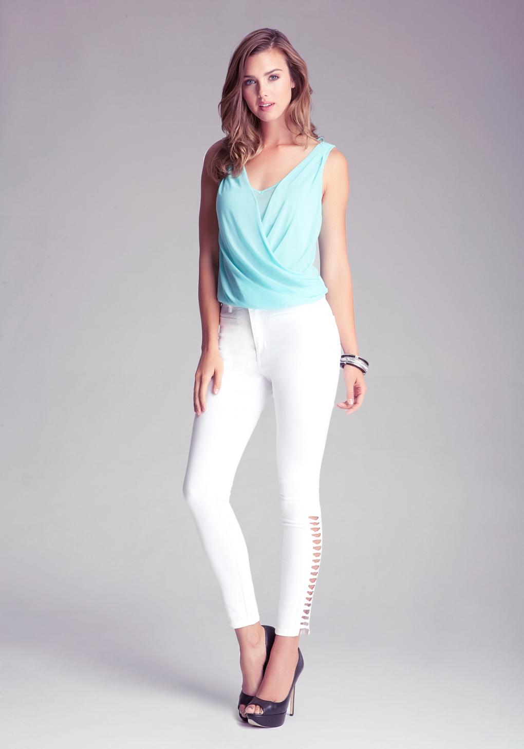 Bebe Lattice Skinny Jeans In White