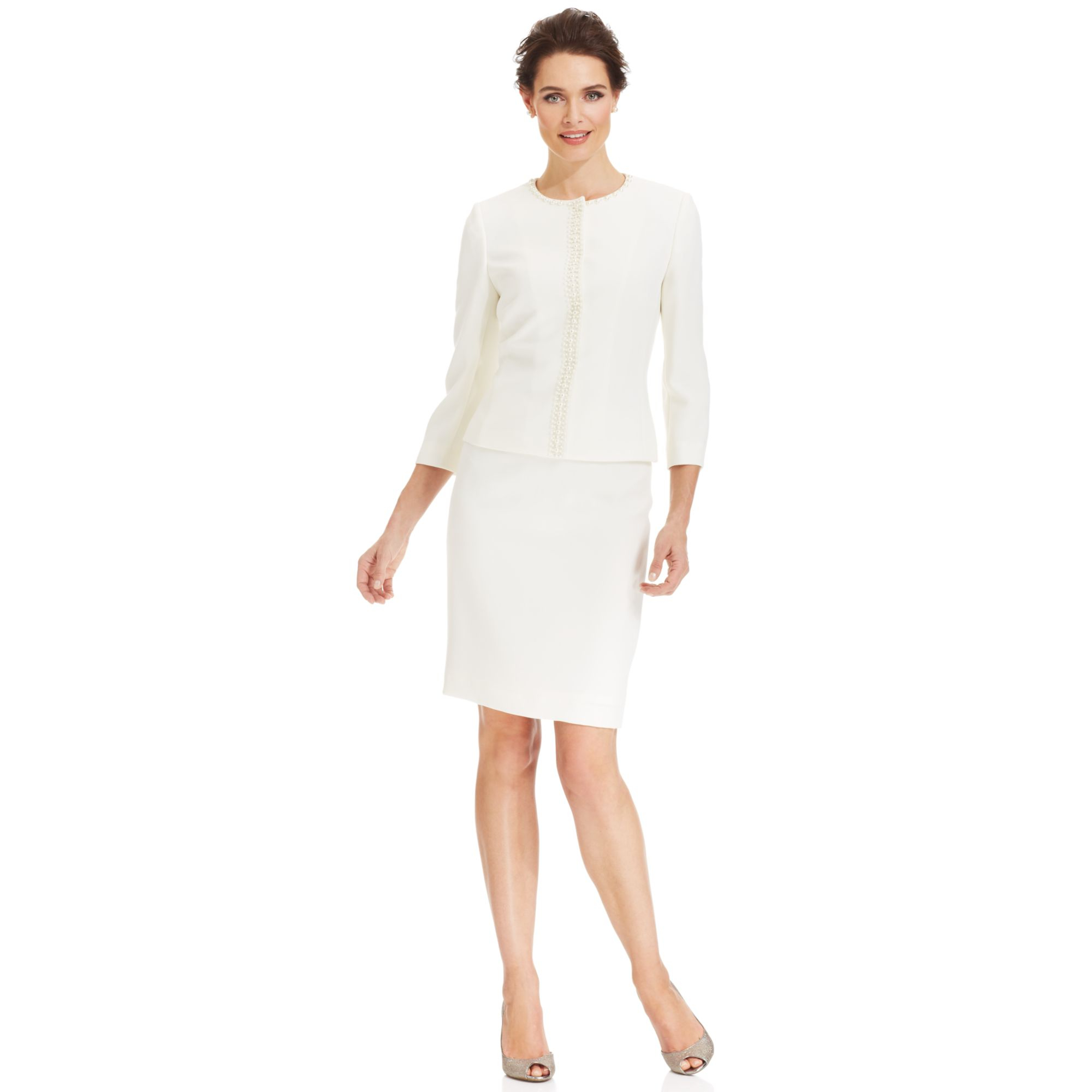 a61ef7c8d453 Tahari By Asl Collarless Beaded Skirt Suit in White - Lyst