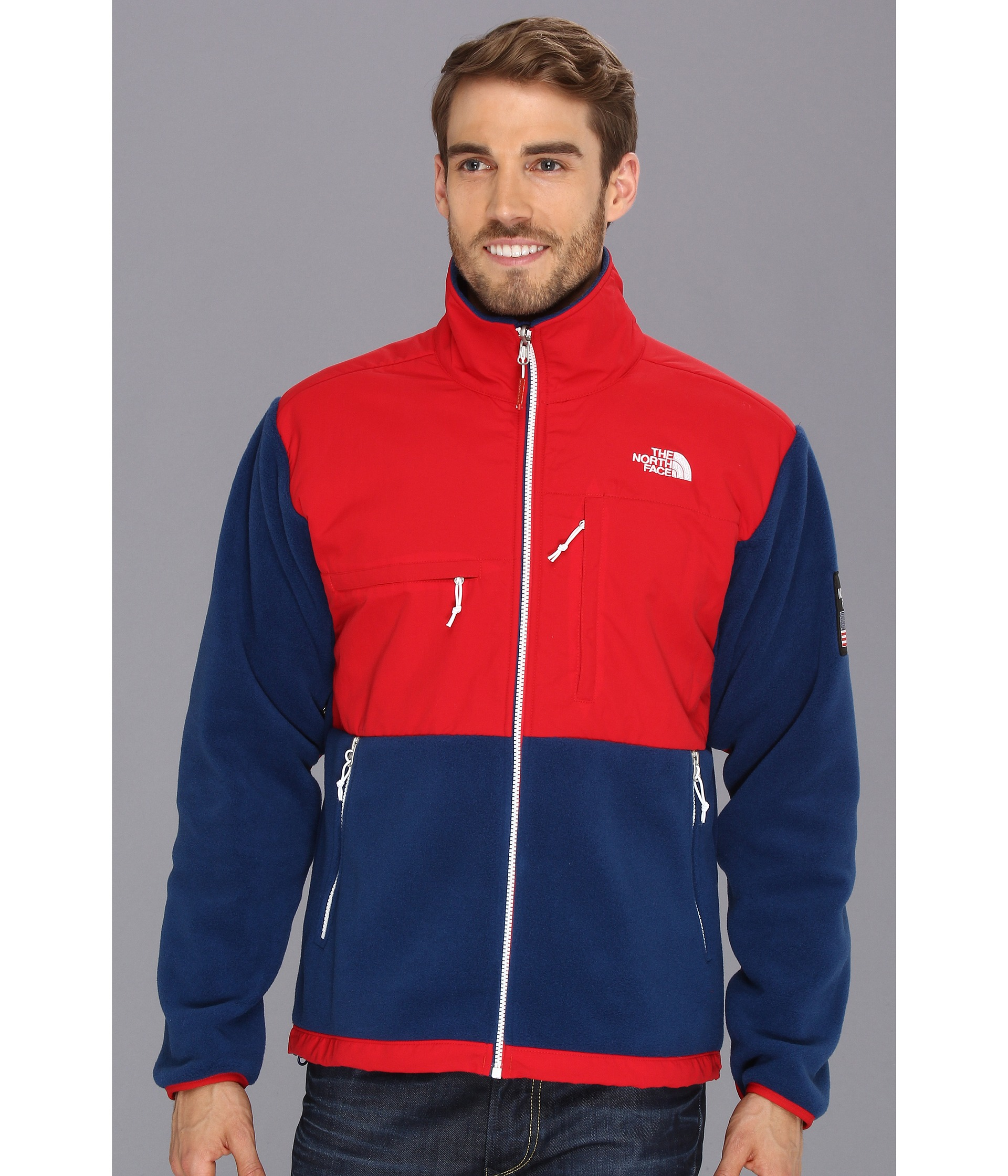 The North Face International Denali Jacket in Blue for Men (USA/TNF Red/Estate Blue) | Lyst