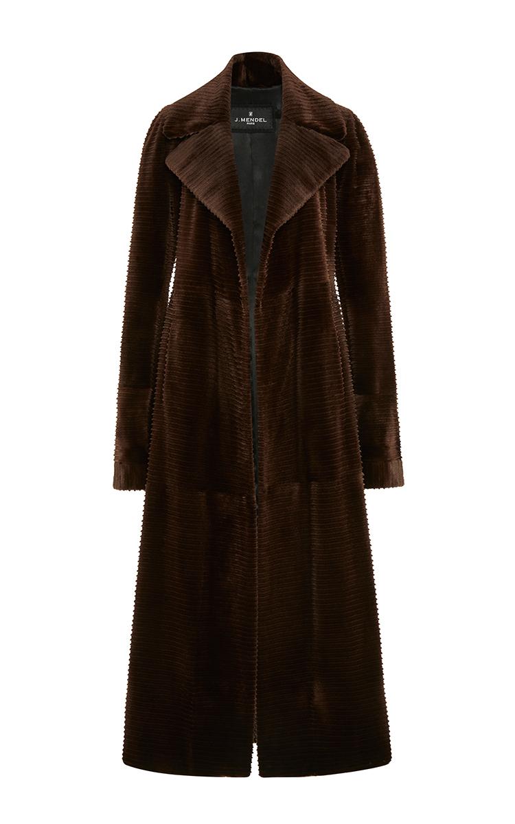 J. mendel Long Corduroy Mink Trench Coat in Brown | Lyst