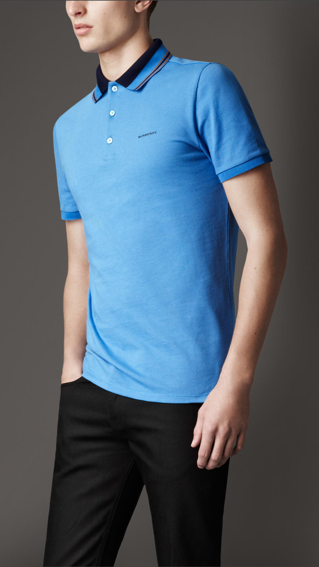 Burberry Striped Collar Polo Shirt In Blue For Men Lyst