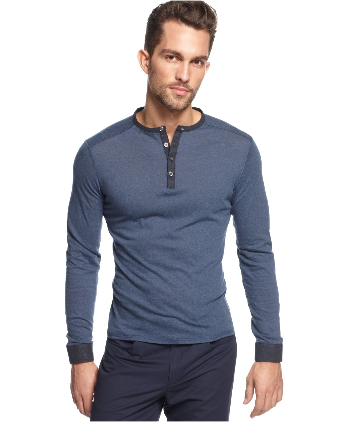 vince camuto slim fit long sleeve henley shirt in blue for