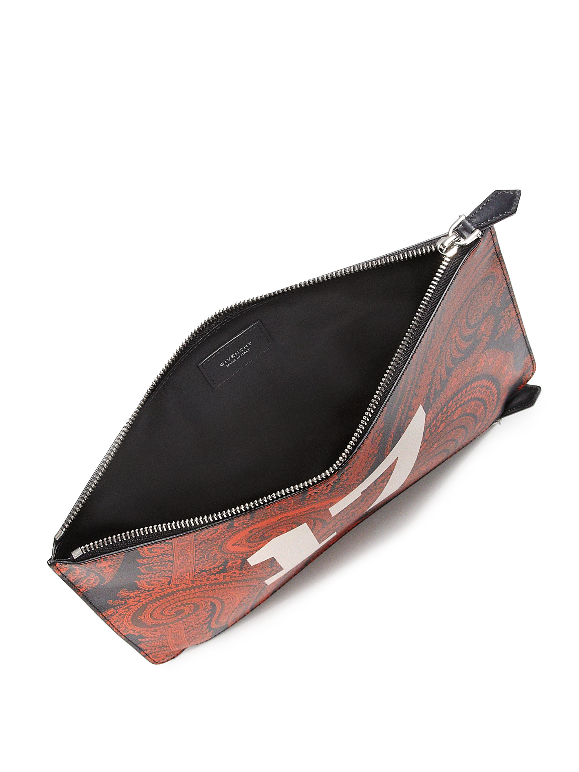 Givenchy Double-Zip Paisley Leather Pouch in Red (PAISLEY-MULTI . c55cc1518bc8c