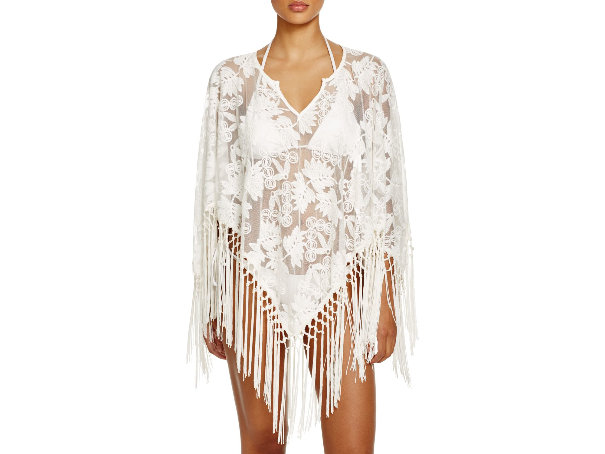 a43b3192c3bd6 Lyst - Surf Gypsy Fringe Lily Poncho Swim Cover Up in White