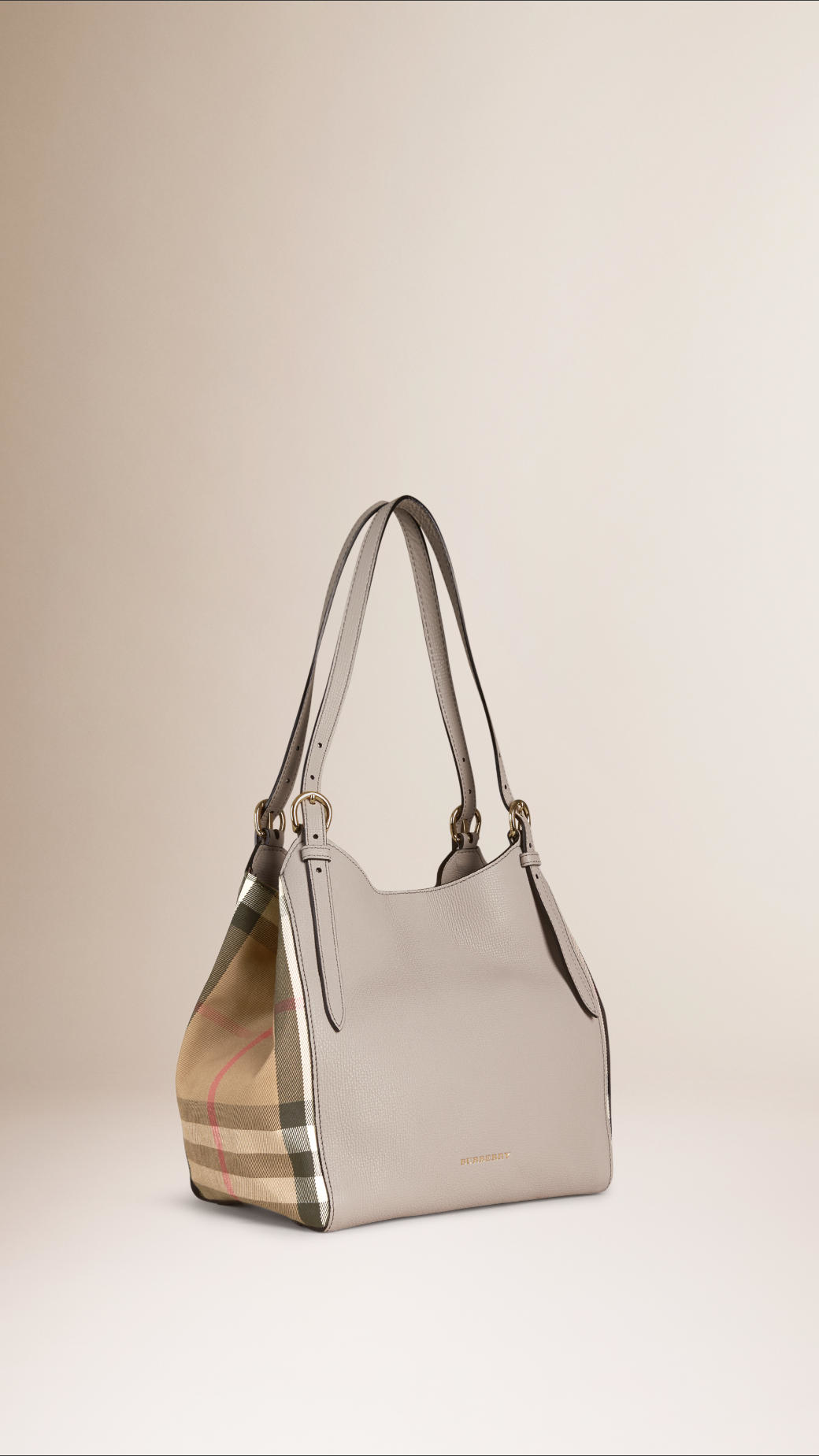 95b589fd2703 Lyst - Burberry The Small Canter In Leather And House Check in Gray