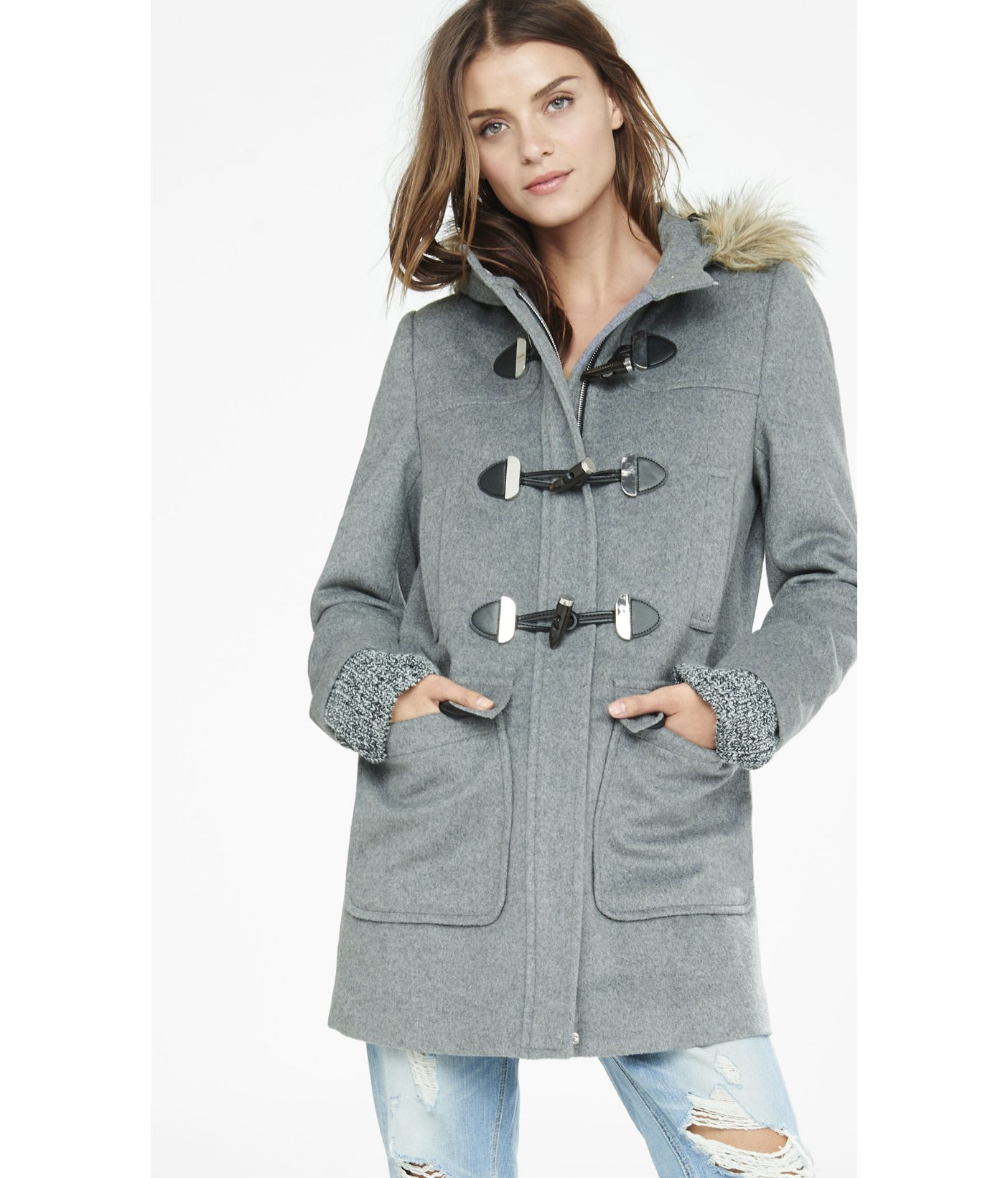 express toggle duffle coat in gray lyst. Black Bedroom Furniture Sets. Home Design Ideas