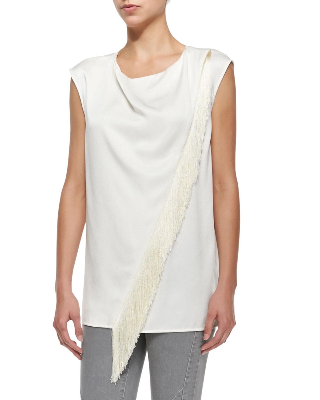 Belstaff Sleeveless Asymmetric Fringe Blouse in White