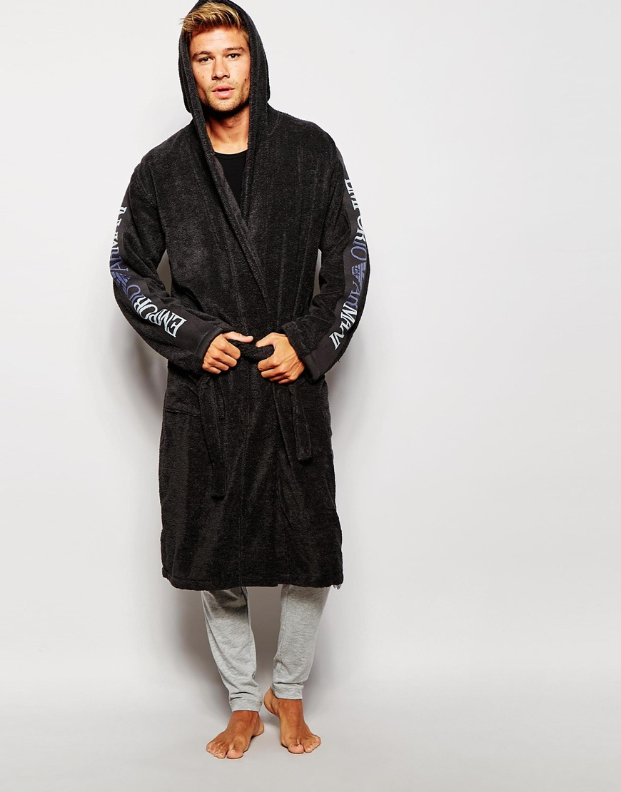 Lyst - Emporio Armani Logo Dressing Gown in Gray for Men