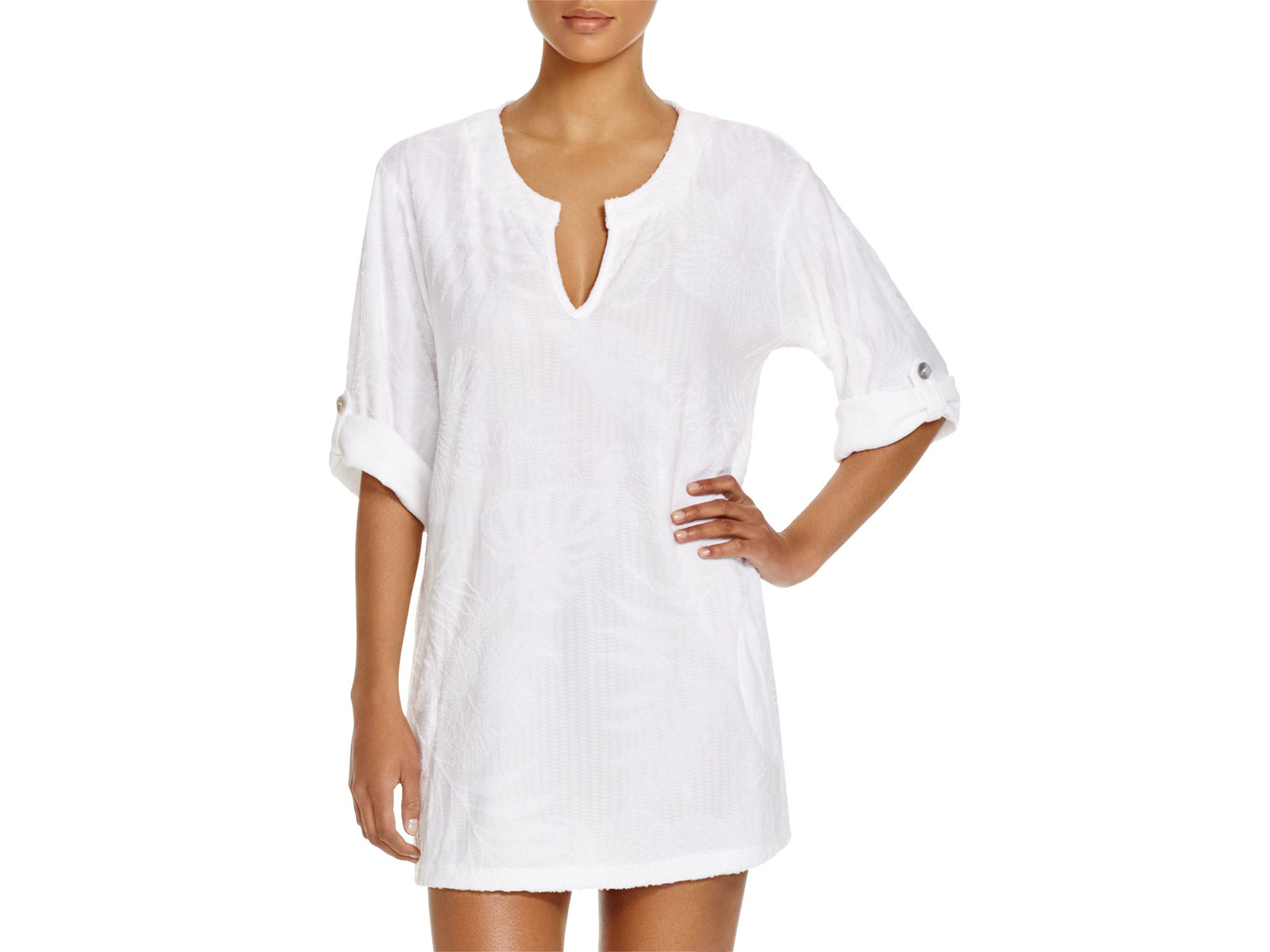 2b497ba26f671 J Valdi Tropical Terry Tunic Swim Cover Up in White - Lyst