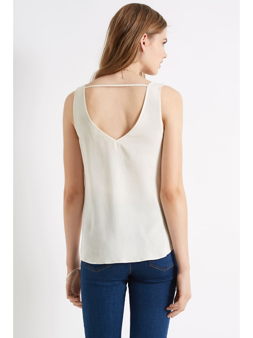 Oasis Embroidered Lace Vest Top in White