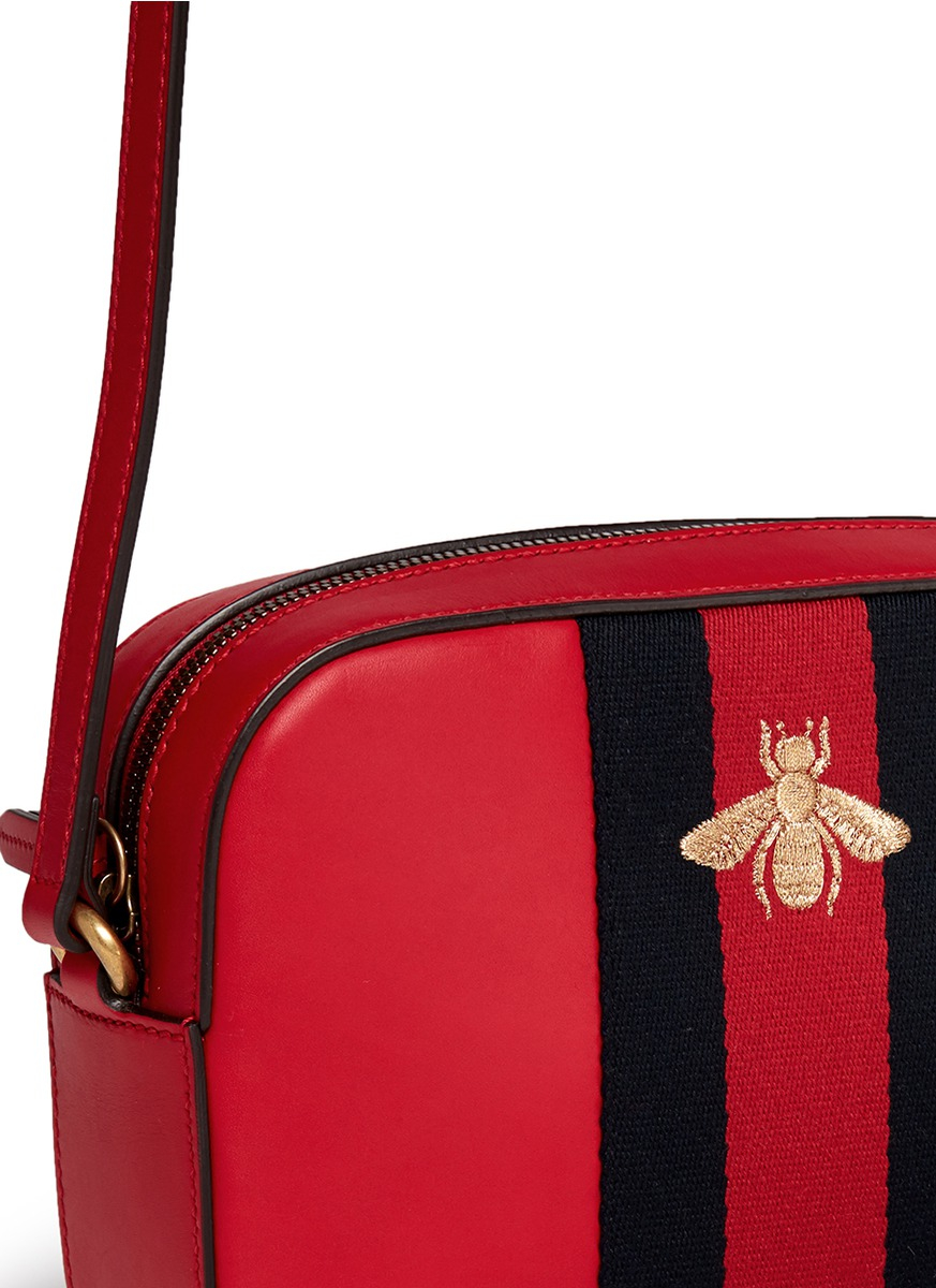 9993e60fbce Lyst - Gucci  webby  Bee Embroidery Web Leather Crossbody Bag in Red
