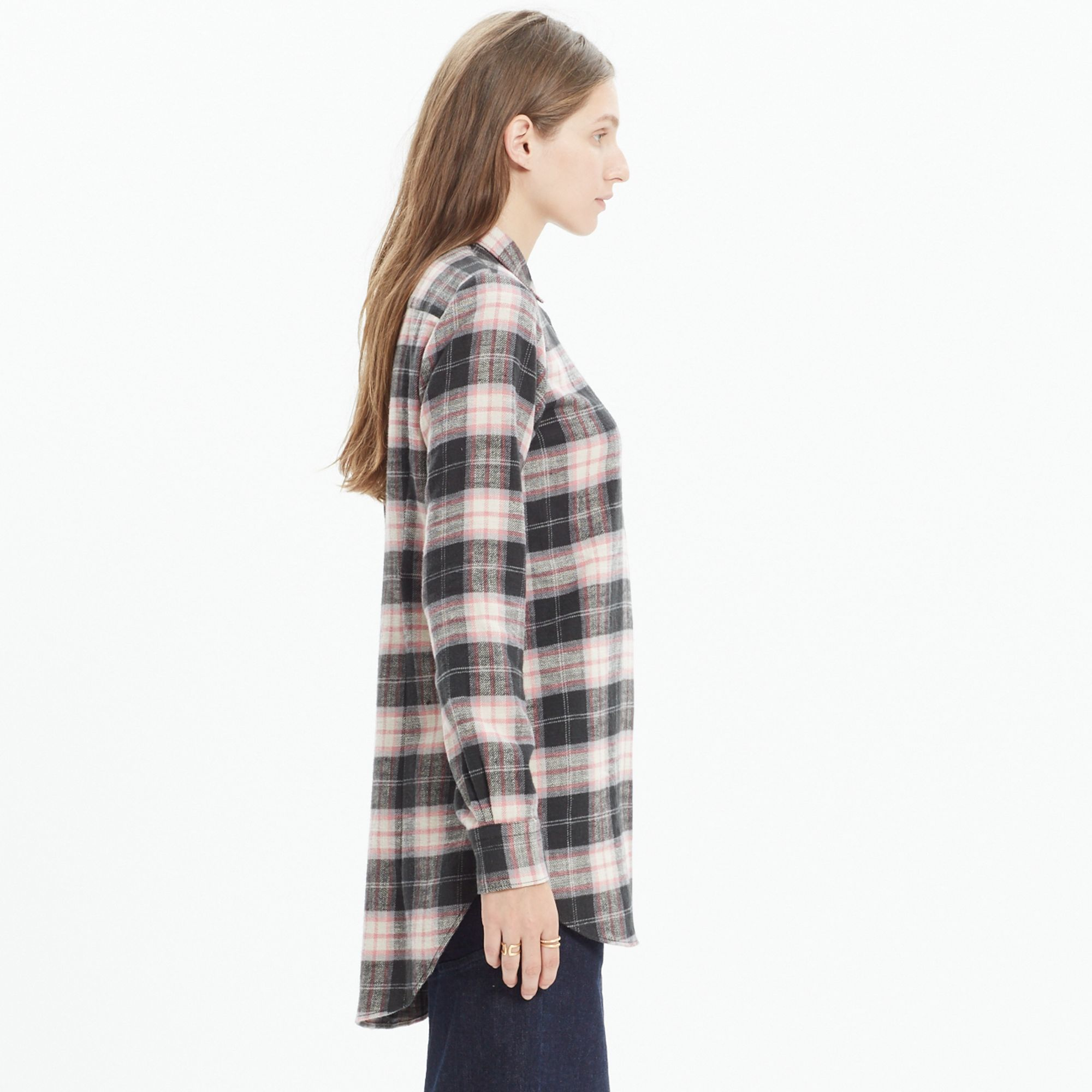 Madewell Rivet Thread Flannel Slim Tunic Shirt In