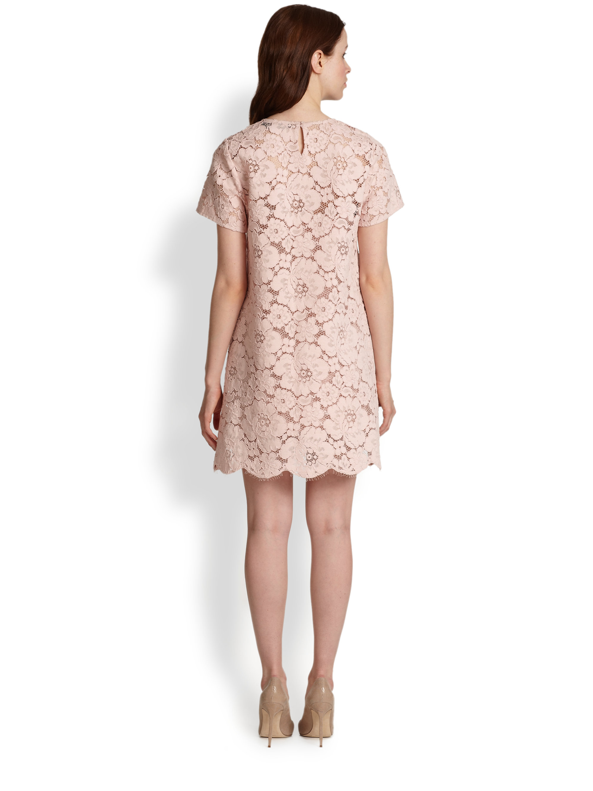 Lyst - Bcbgmaxazria Floral Lace Dress in Pink