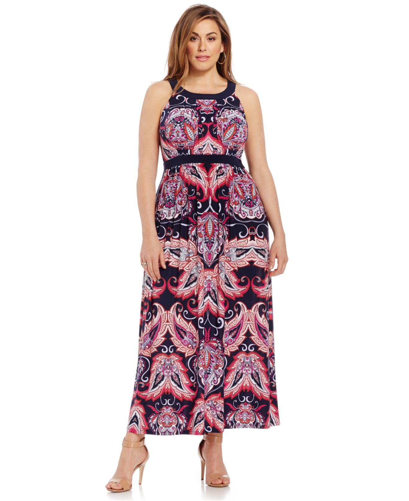 Plus Size Printed Halter Maxi Dress