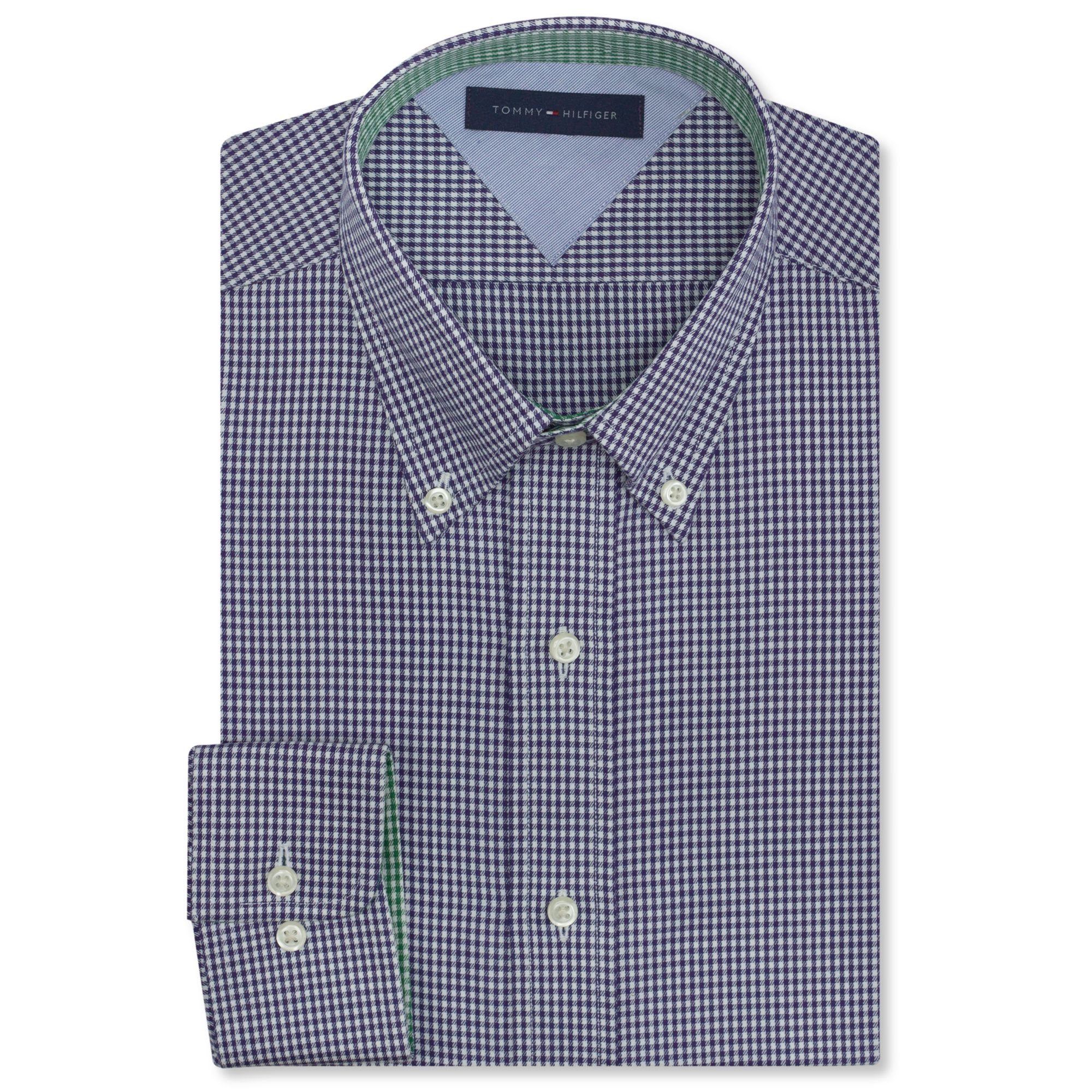 Tommy Hilfiger Big And Tall Blue Gingham Dress Shirt In