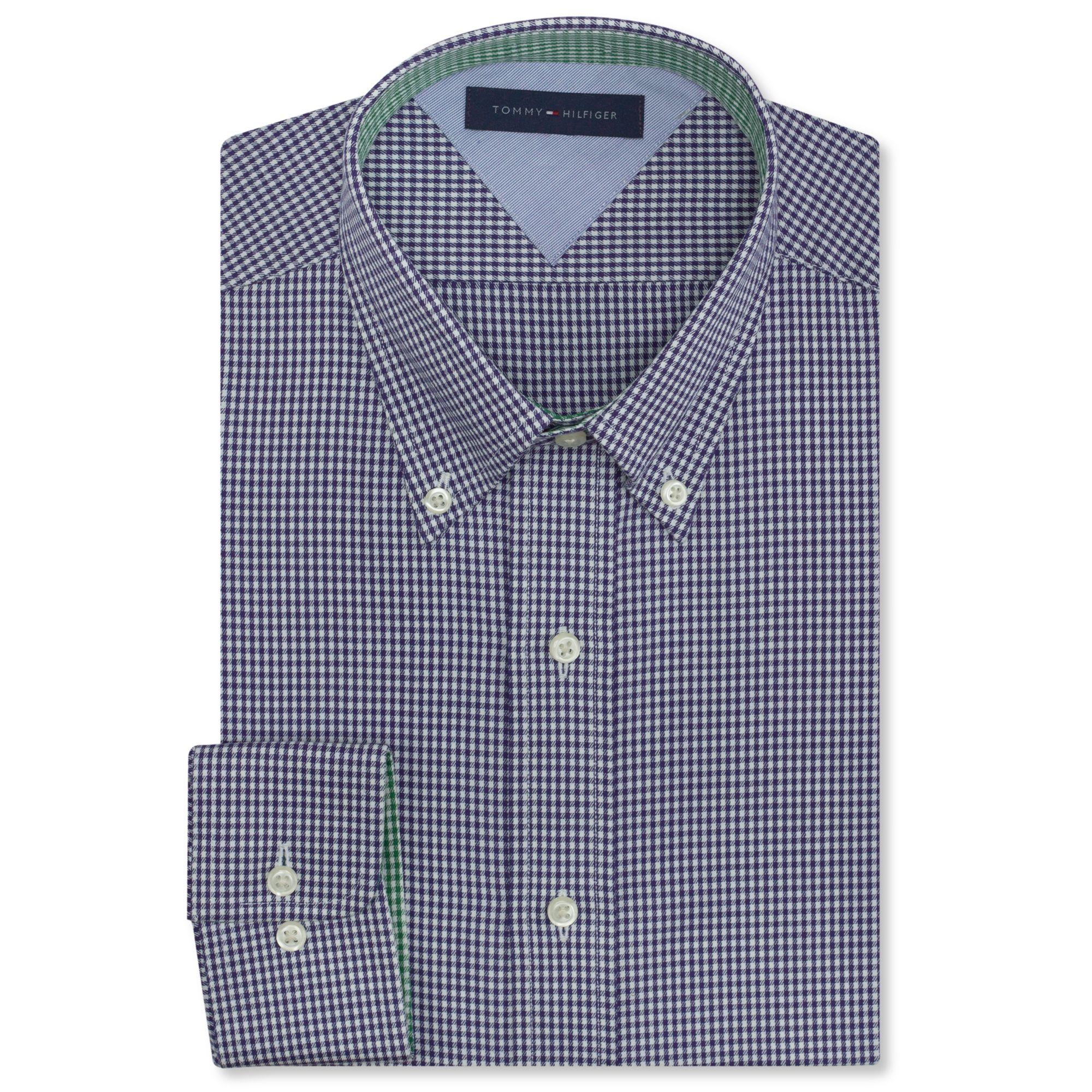 Tommy hilfiger big and tall blue gingham dress shirt in for Tommy hilfiger gingham dress shirt