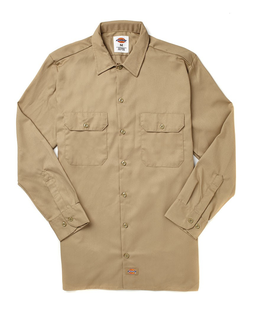 dickies long sleeve work shirt in natural for men lyst
