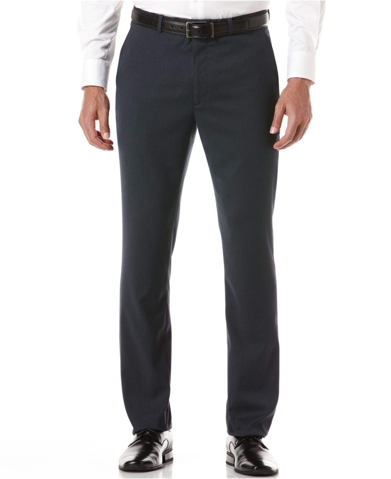 Perry ellis no iron slim fit flat front pant in blue for for No iron slim fit dress shirts