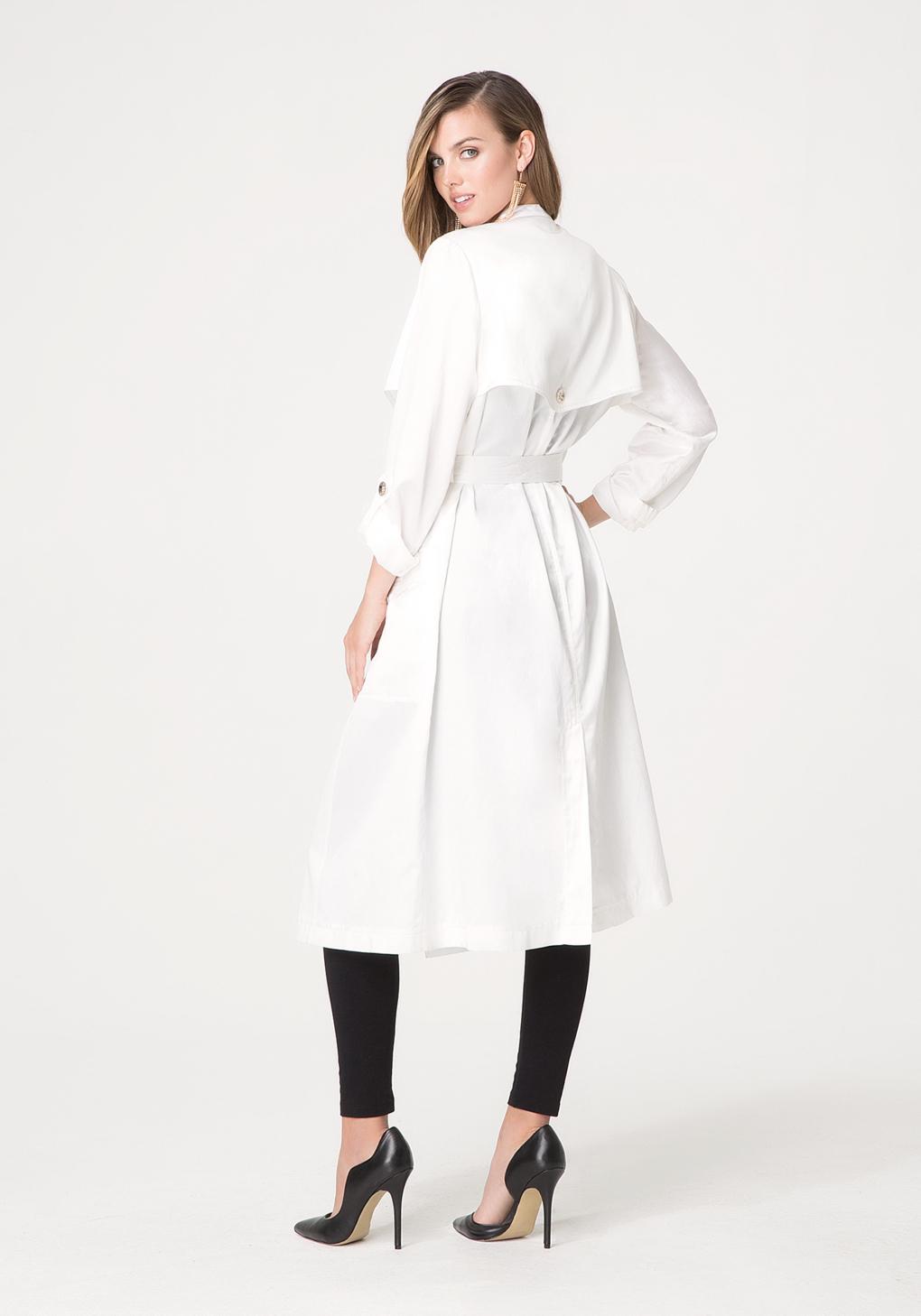 Bebe Silk Duster Coat In White Lyst